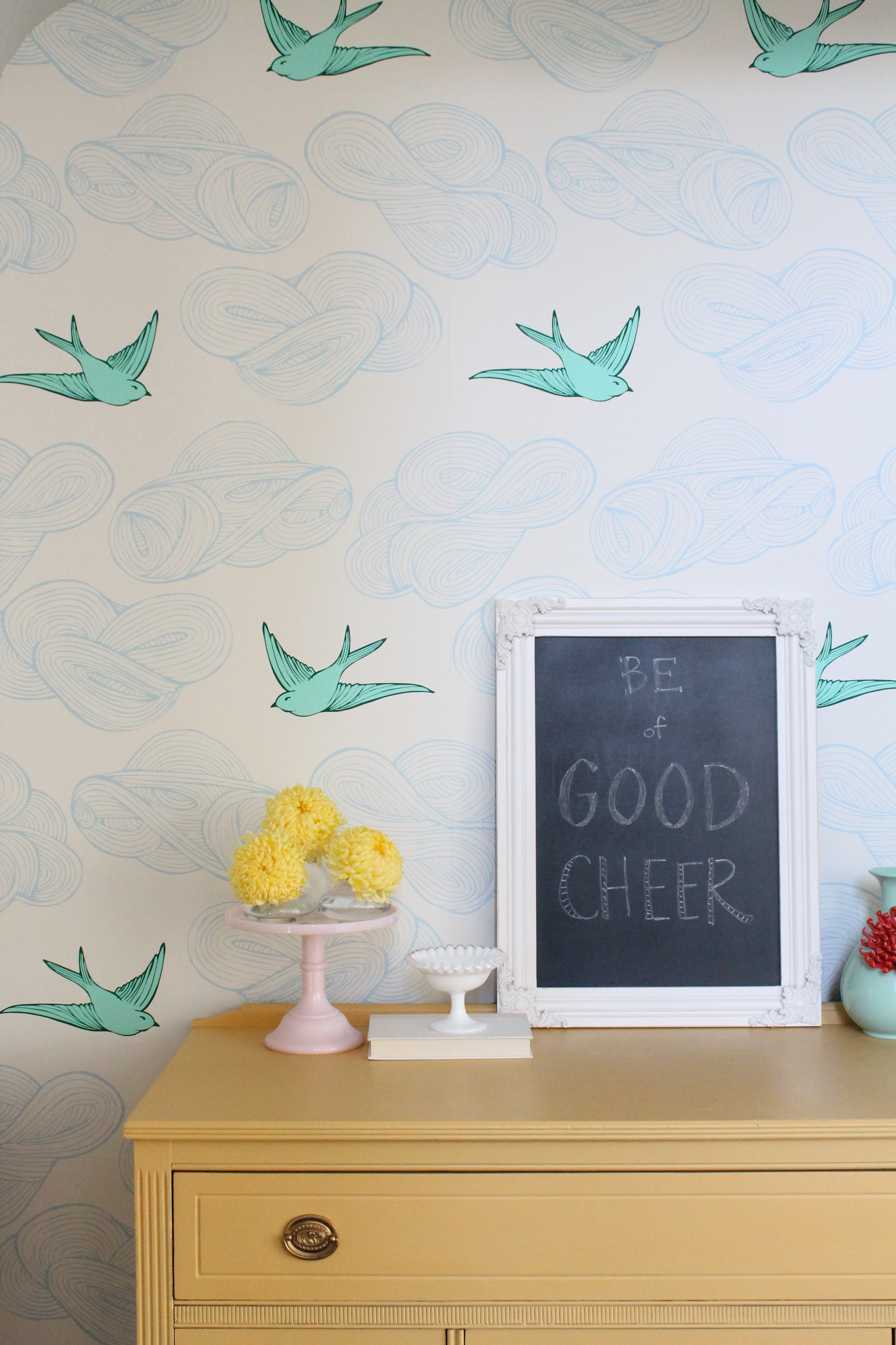 Hygge and West Wallpaper in this cheery little nook