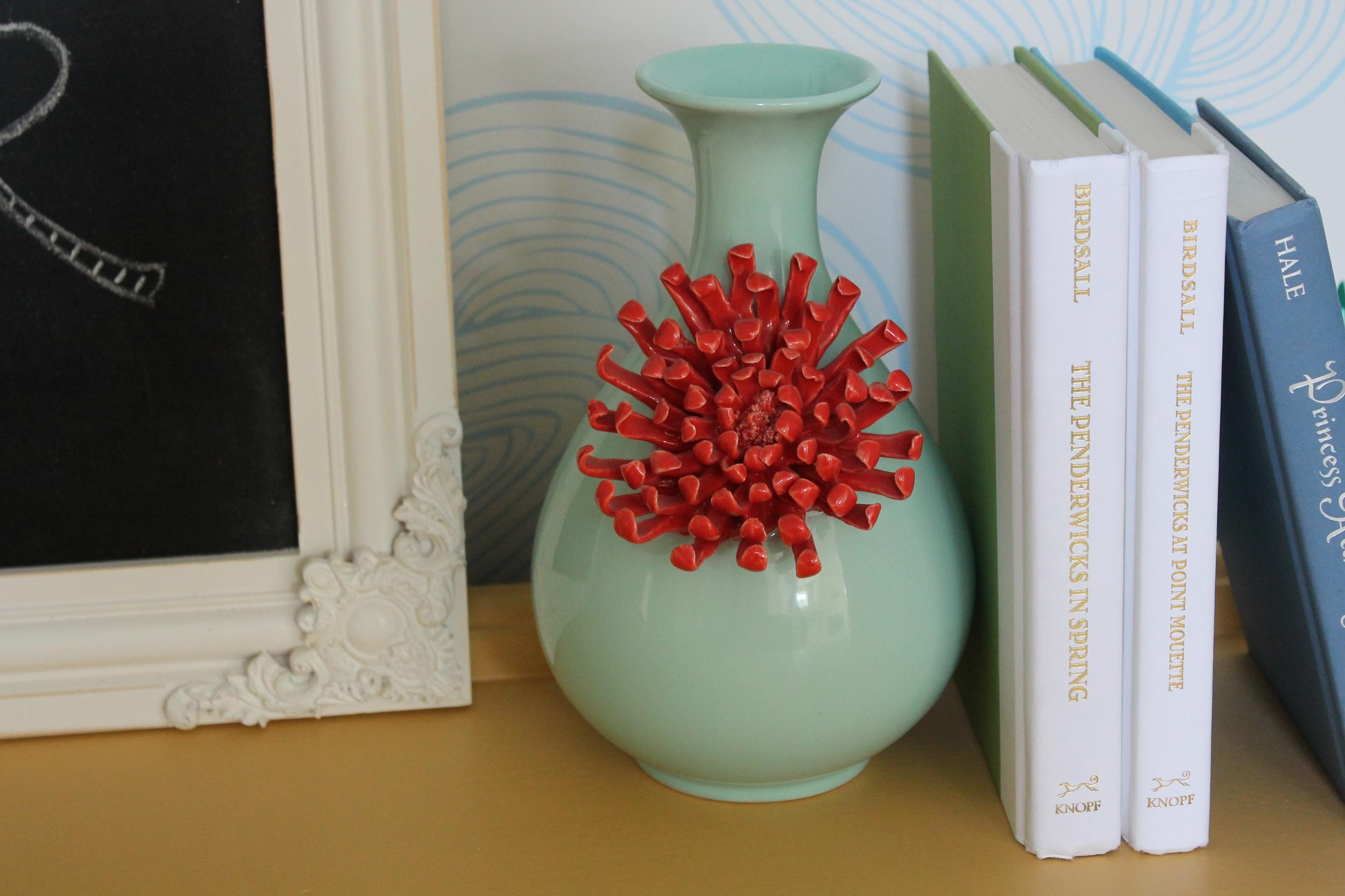 Anthropologie Turquoise and Orange Vase