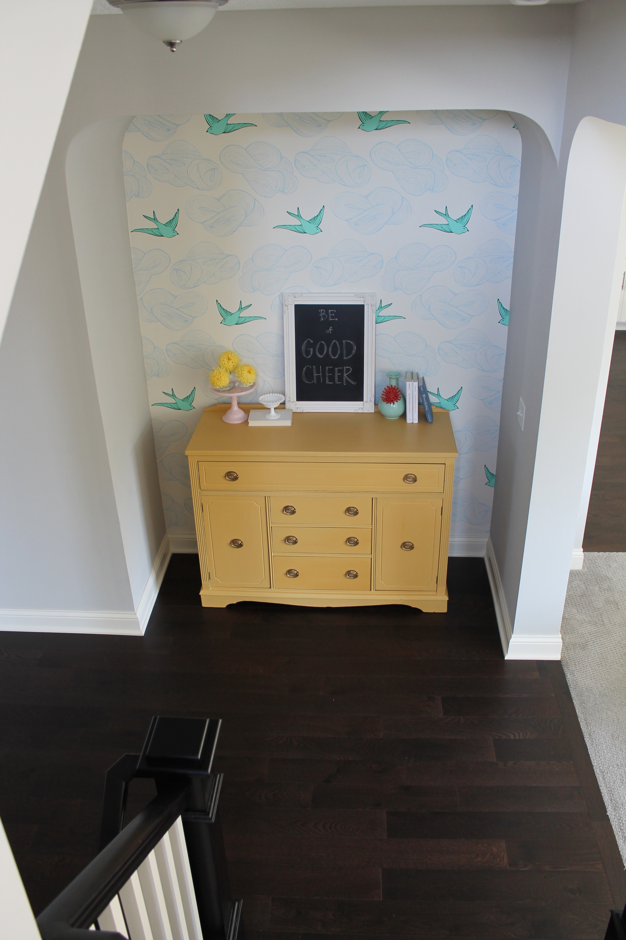Cheery Wallpapered Nook
