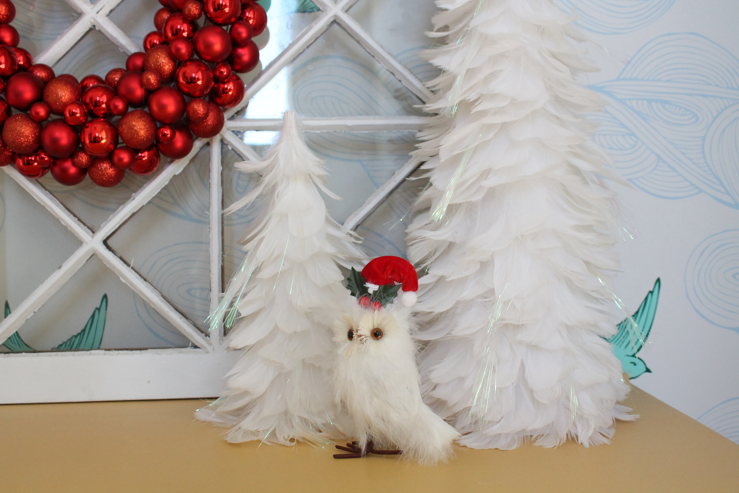 Christmas Feather Trees and Owl