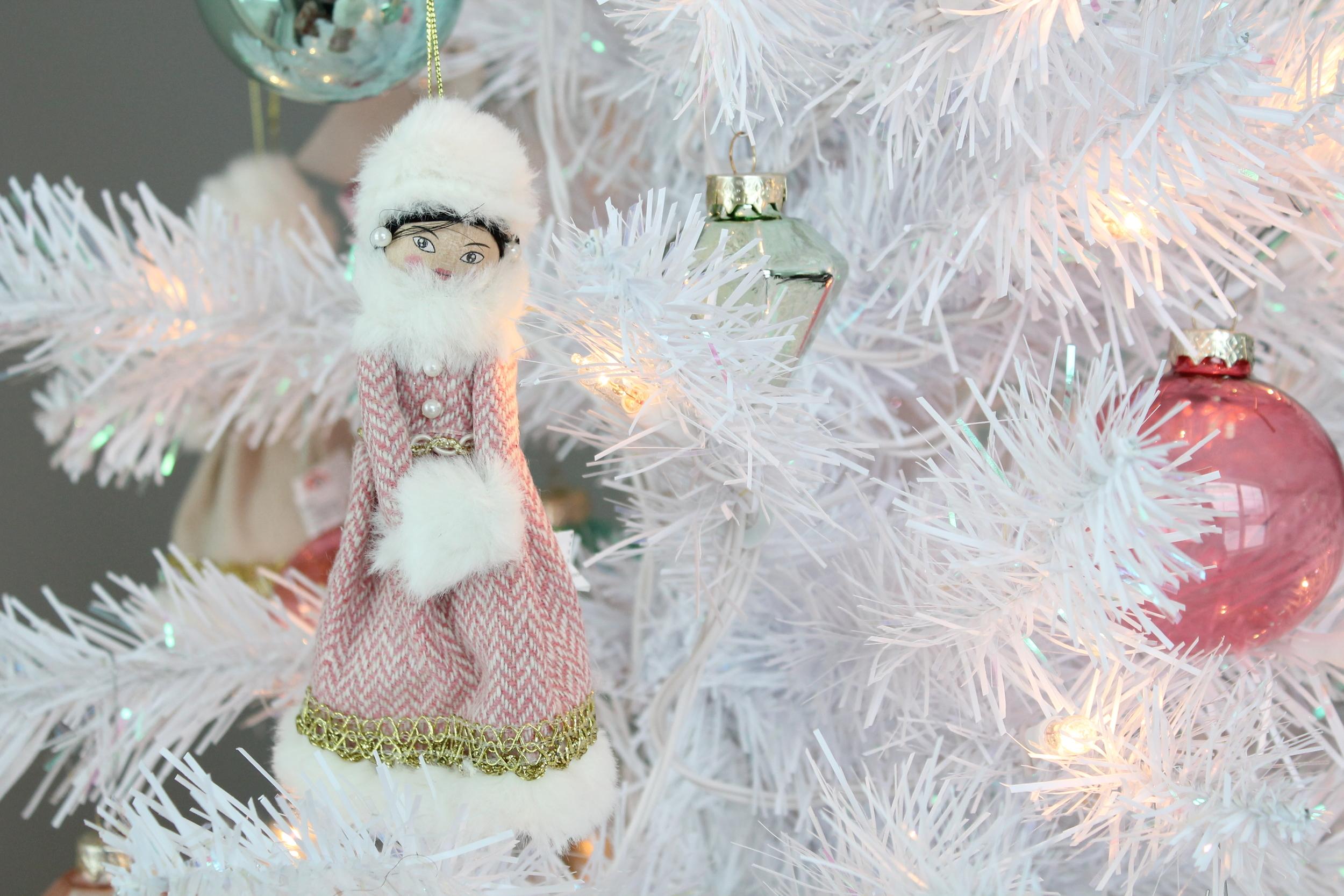 White Christmas Tree With Snow Girl