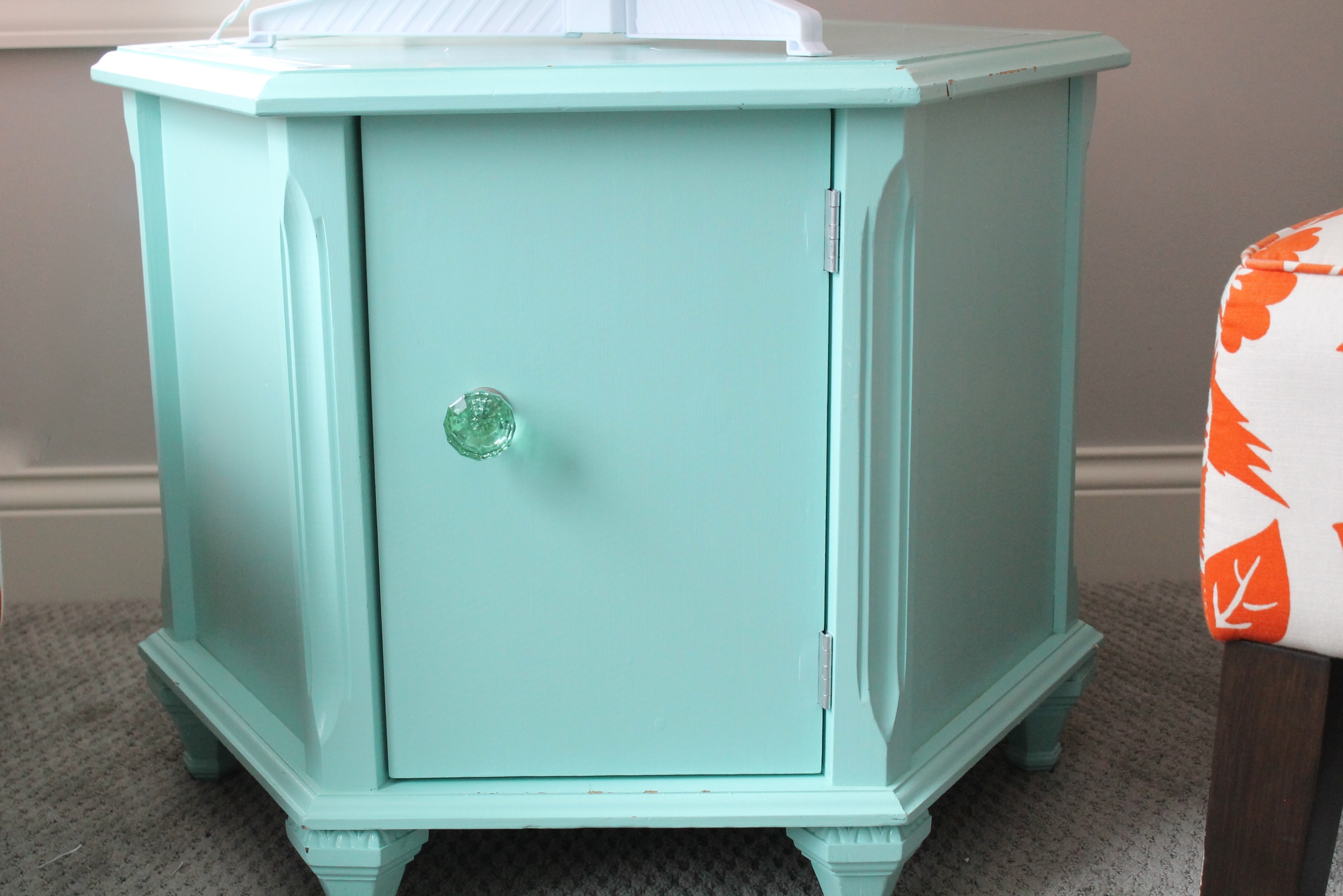 Painted Aqua Side Table Used as a Christmas Tree Stand