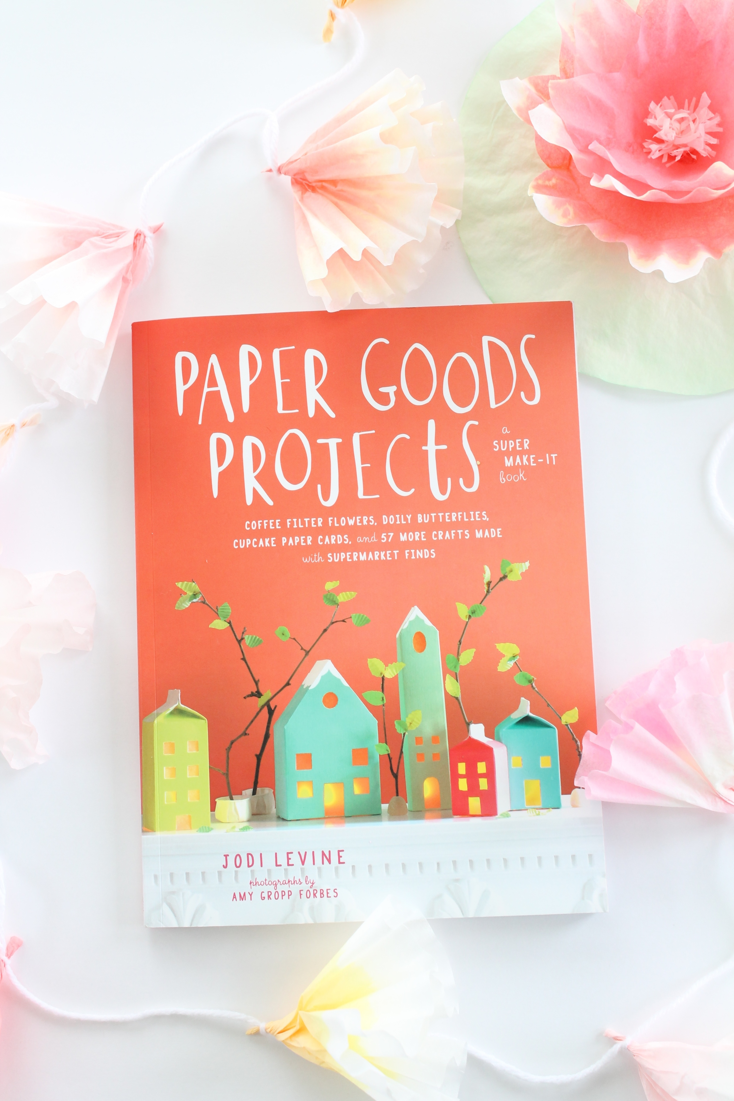 """Book """"Paper Goods Projects"""" by Jodi Levine. Full of fabulous, easy and inexpensive paper projects. My absolute favorite are the coffee filter flowers. So pretty and delicate!"""