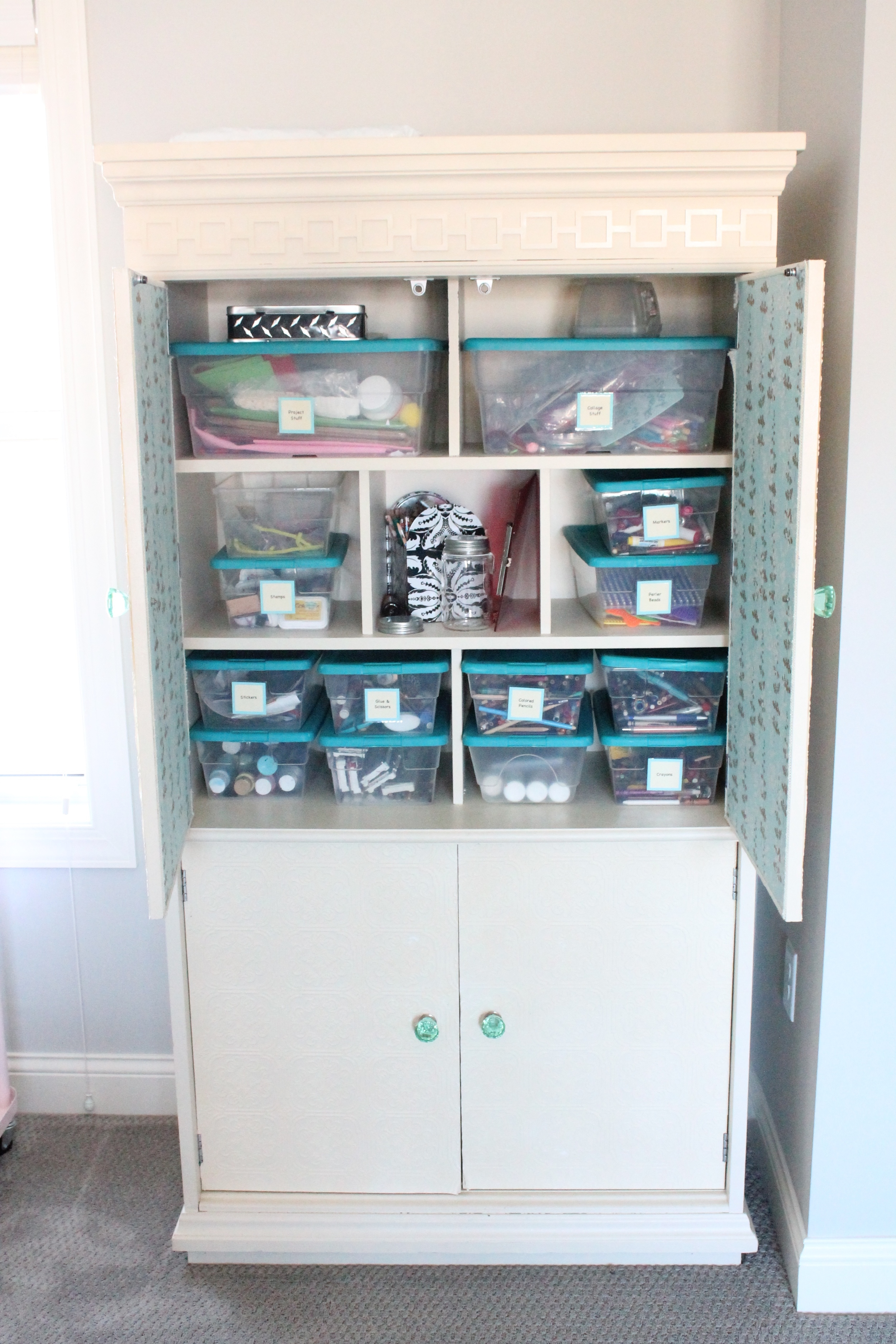 Craft cabinet for all the kids craft supplies.