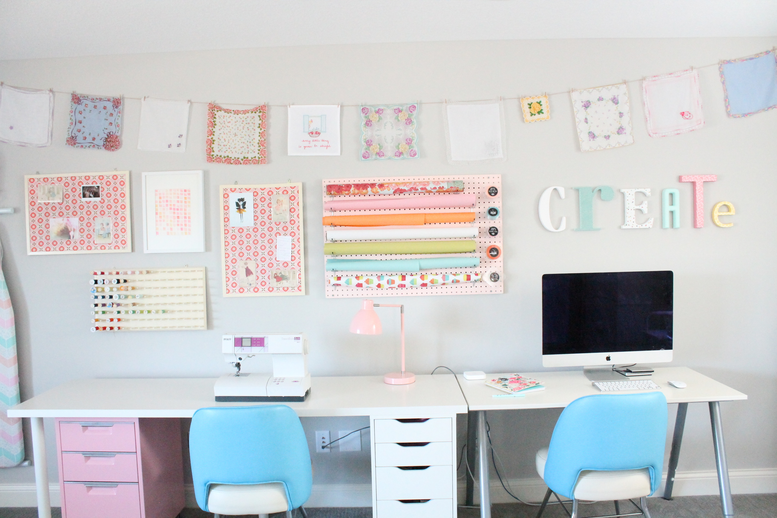 Family Craft Studio. Love how everyone in the family can share this creative space. A perfect craft room for sewing, scrapbooking, wrapping presents or just reading a book.