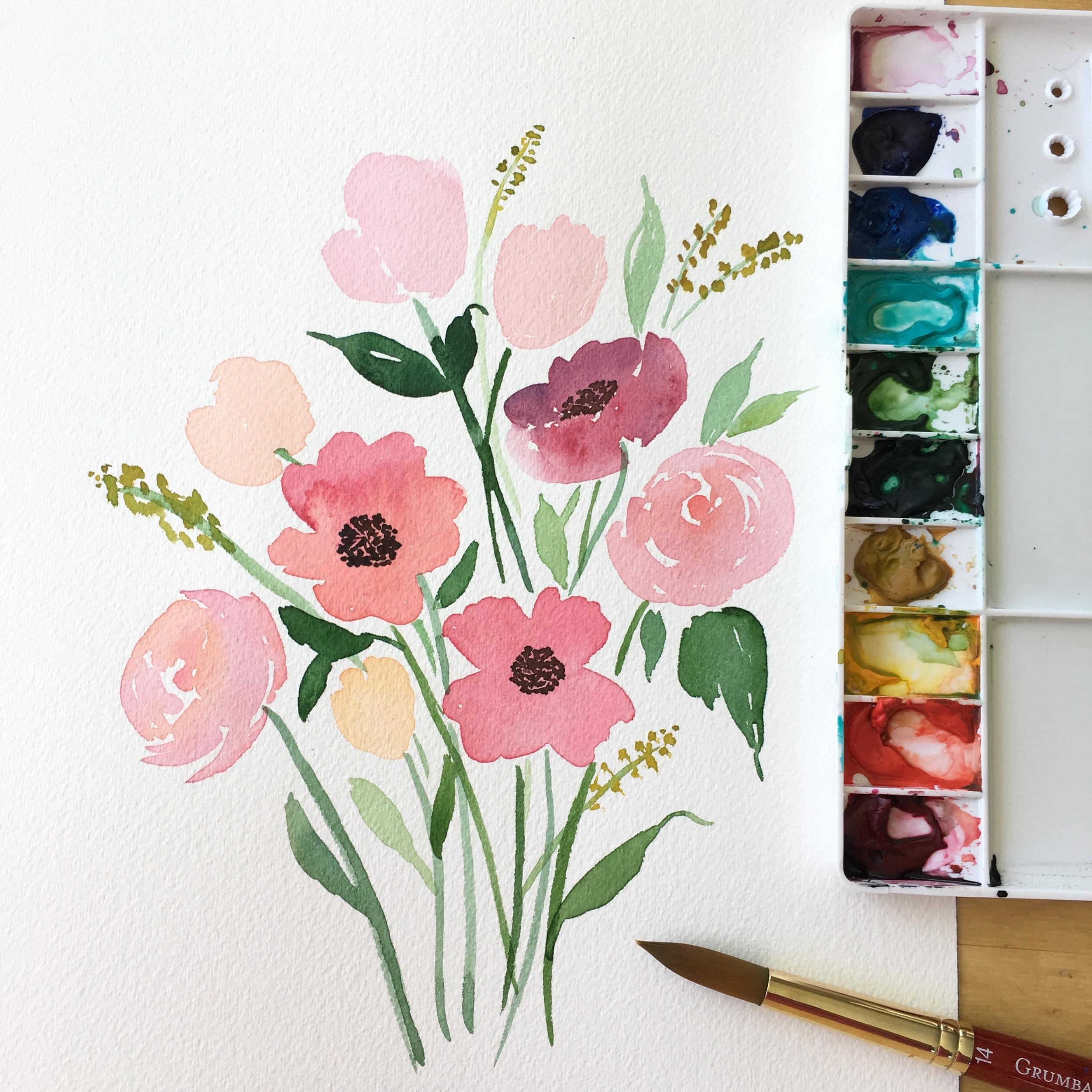 Water Color Floral Bouquet
