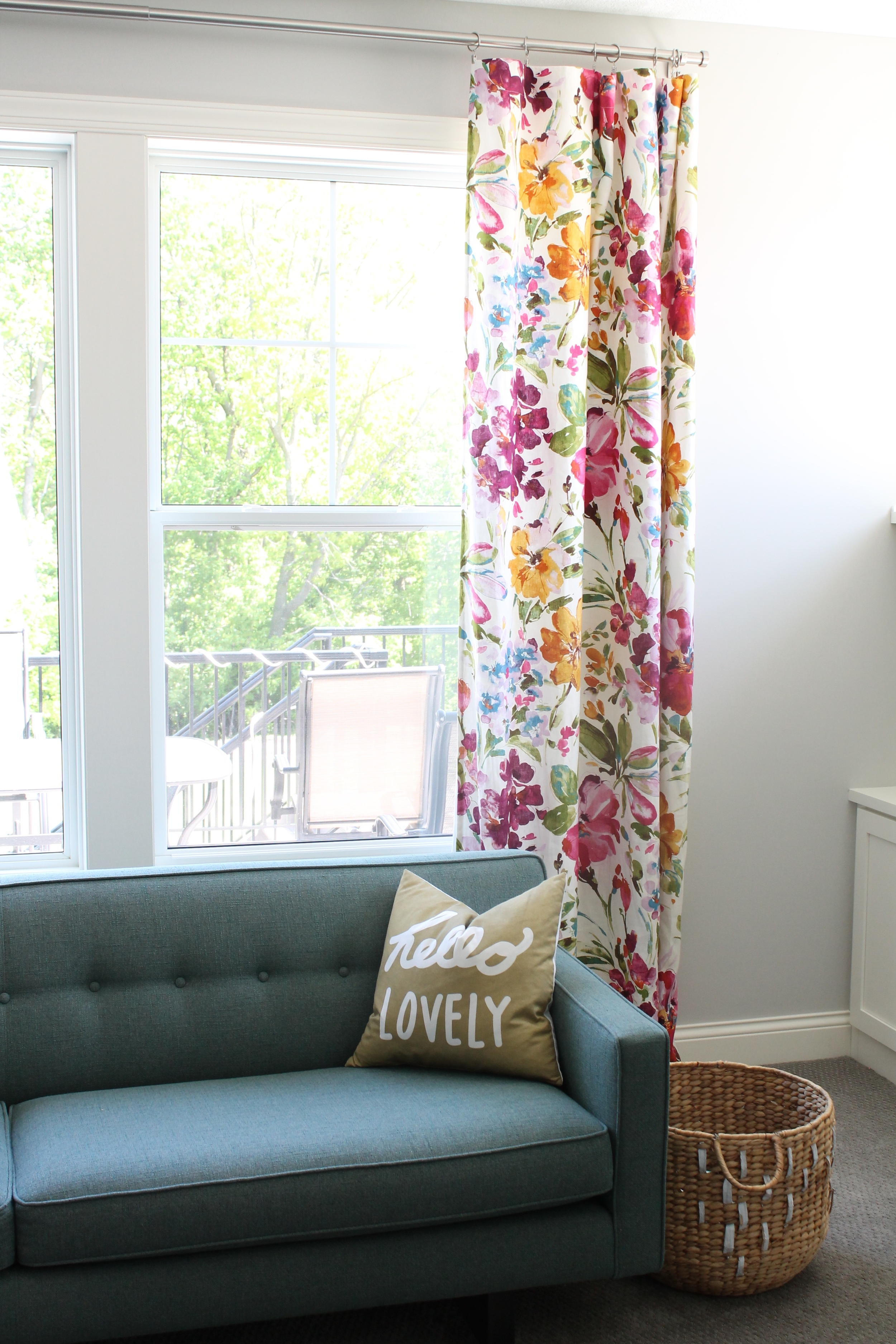 Beautiful Watercolor floral curtains. Fabric is called Paint Palette Punch from Tonic Living.