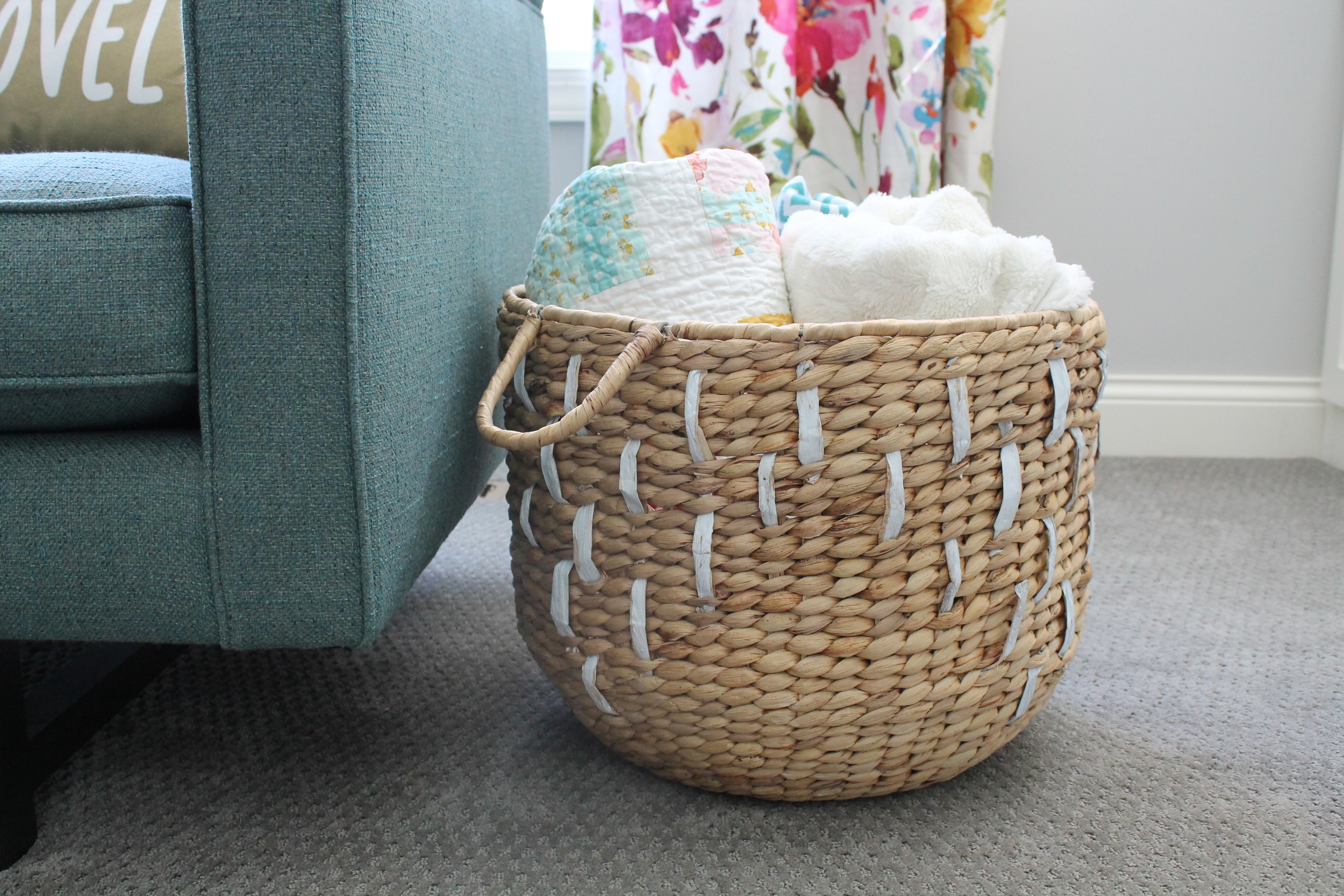 Target basket filled with cozy throw blankets.