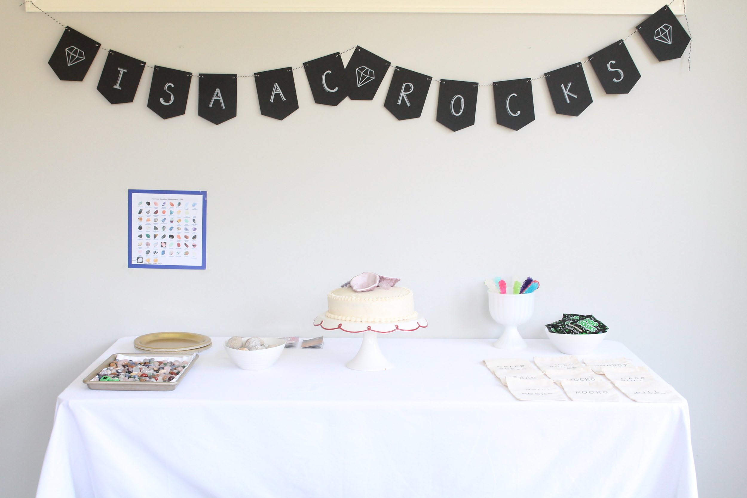 """A """"Rock"""" birthday party filled with geodes, rock candy, pop rocks and polished rocks."""