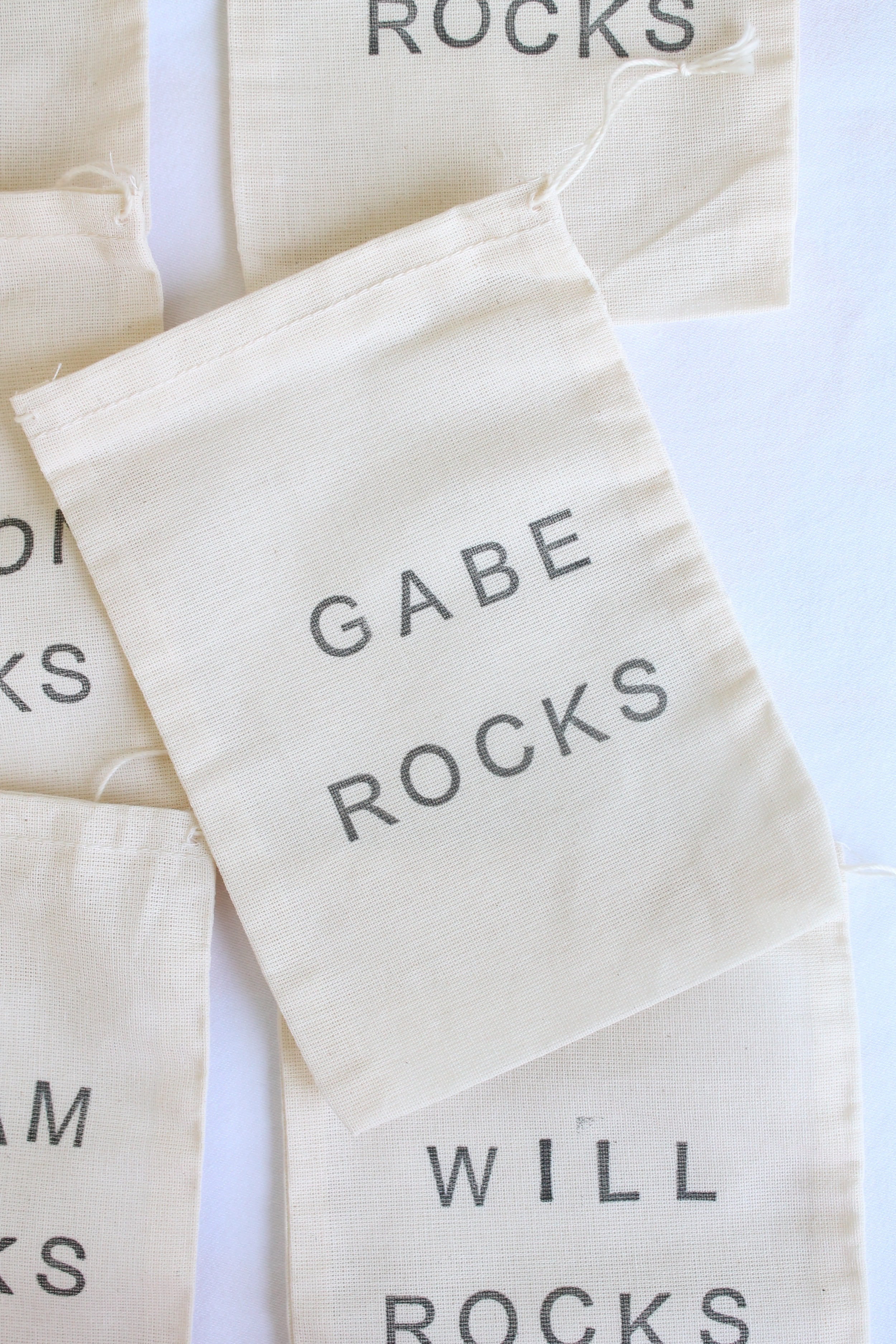 Little cloth bags for a birthday party. Can be stamped with whatever you like.