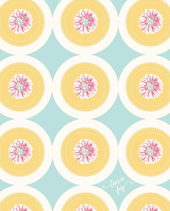 Pattern Design by Tessie Fay. Grandma's Doilies in Aqua.