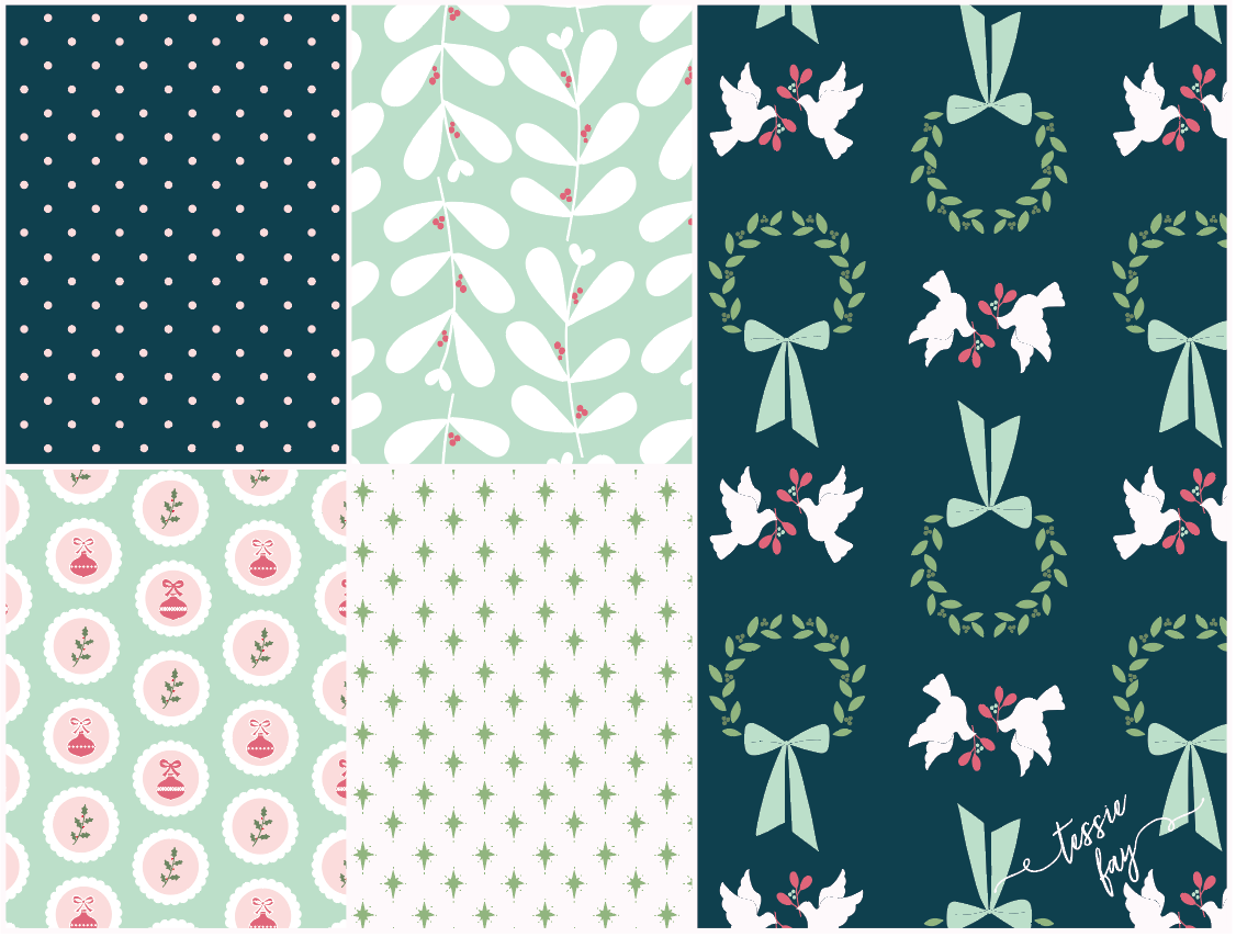 Retro Christmas Wrapping Paper Collection by Tessie Fay
