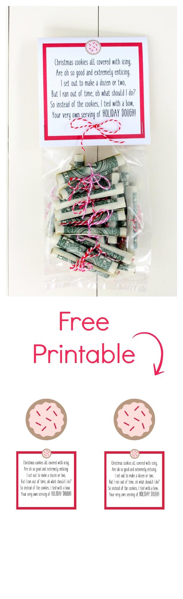 Christmas Money Free Printable. Fun way to give cash for Christmas.