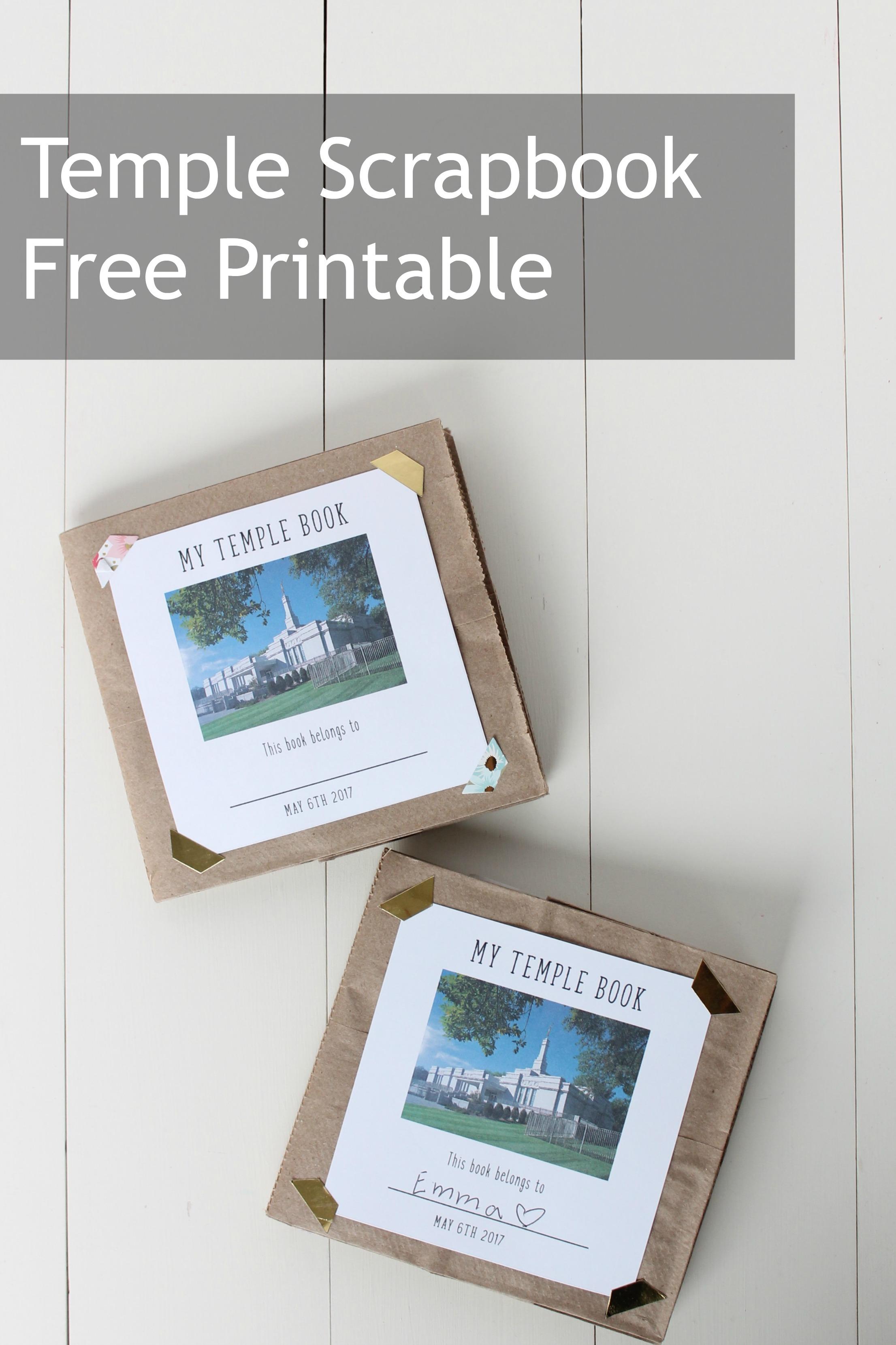Primary Temple Activity Free Printable Scrapbook