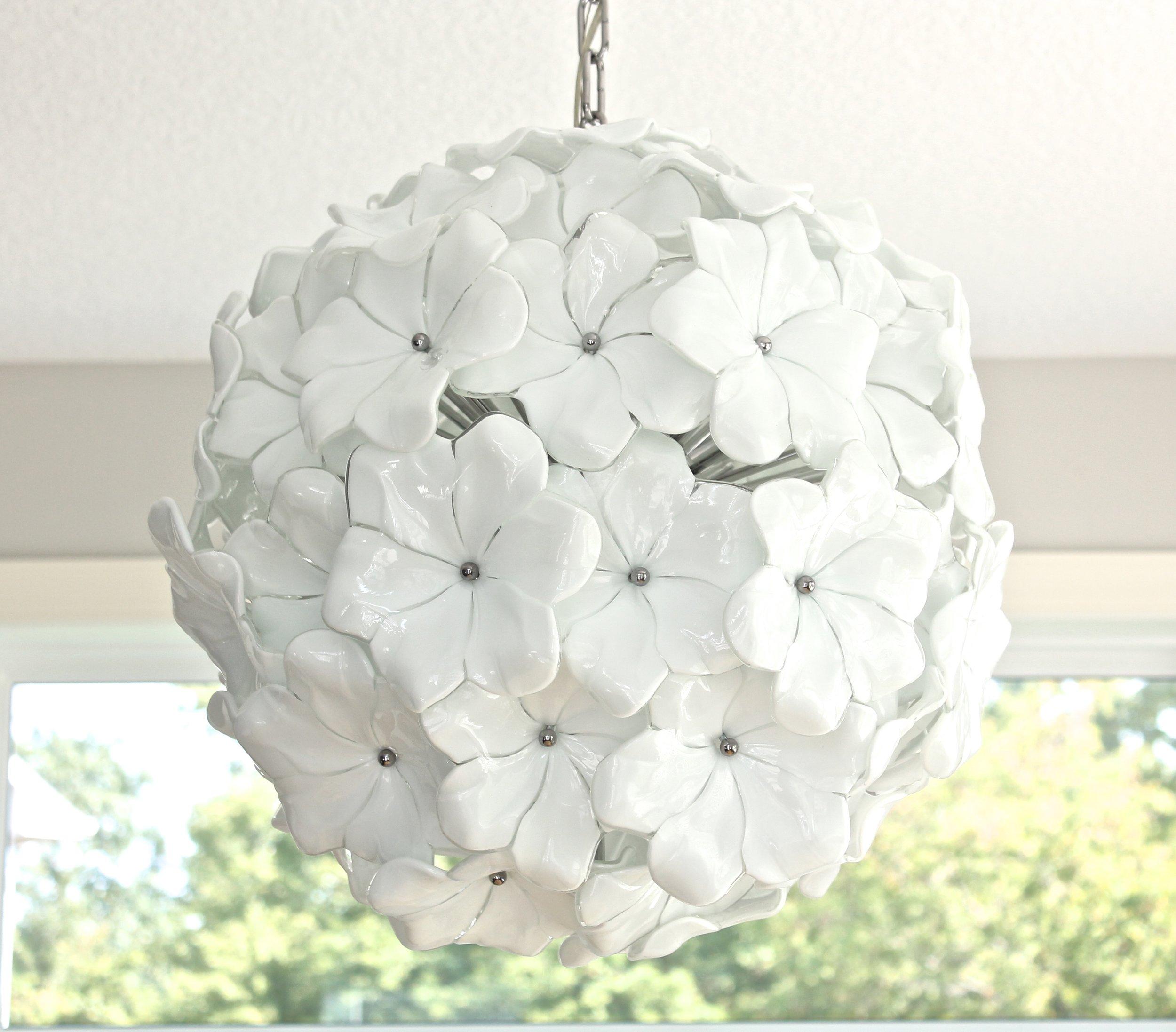 Venice glass chandelier. White flower chandelier. Murano Glass light fixture.