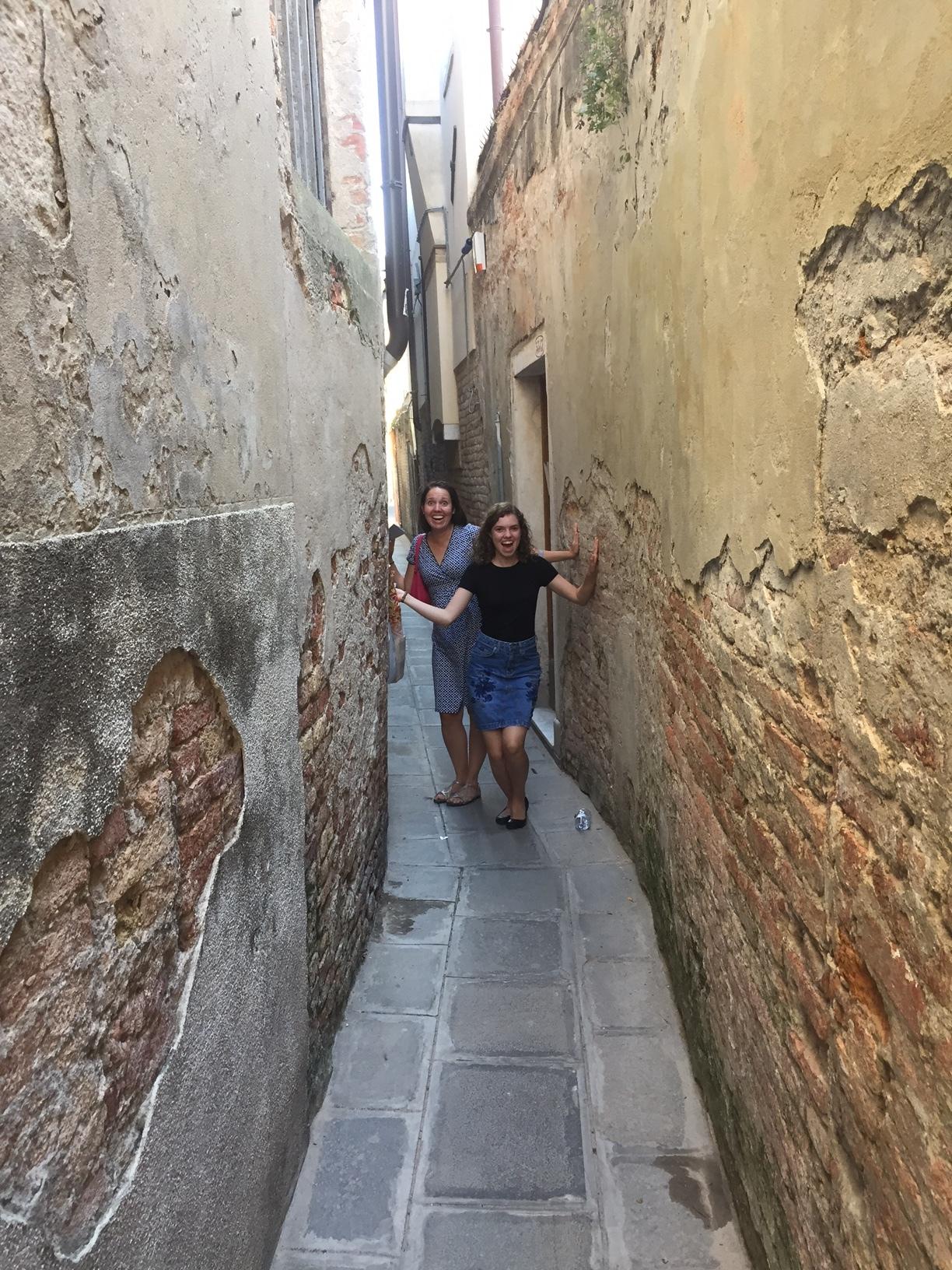 The narrow walkways of Venice Italy.