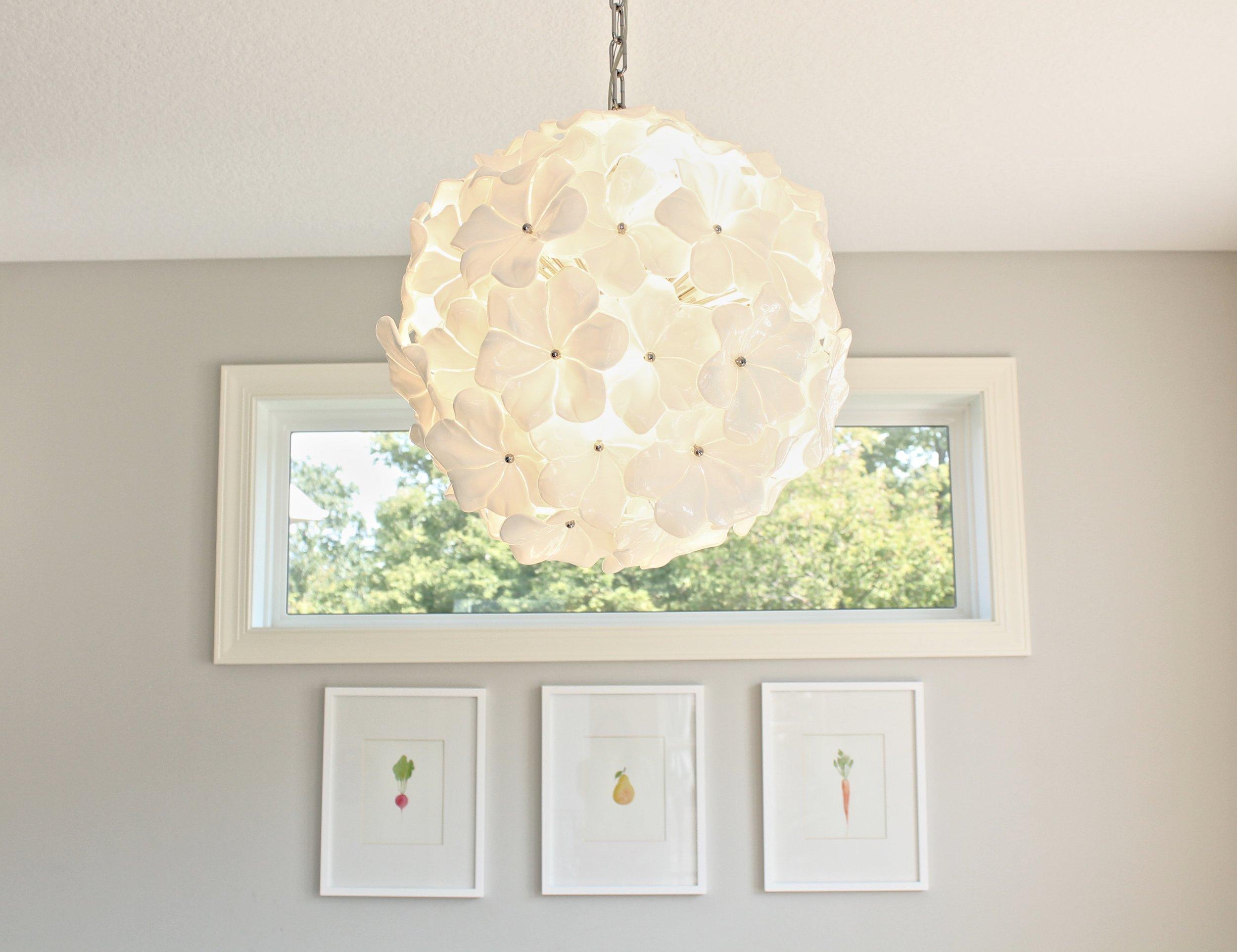 Murano glass chandelier. White flower chandelier. Venice chandelier.