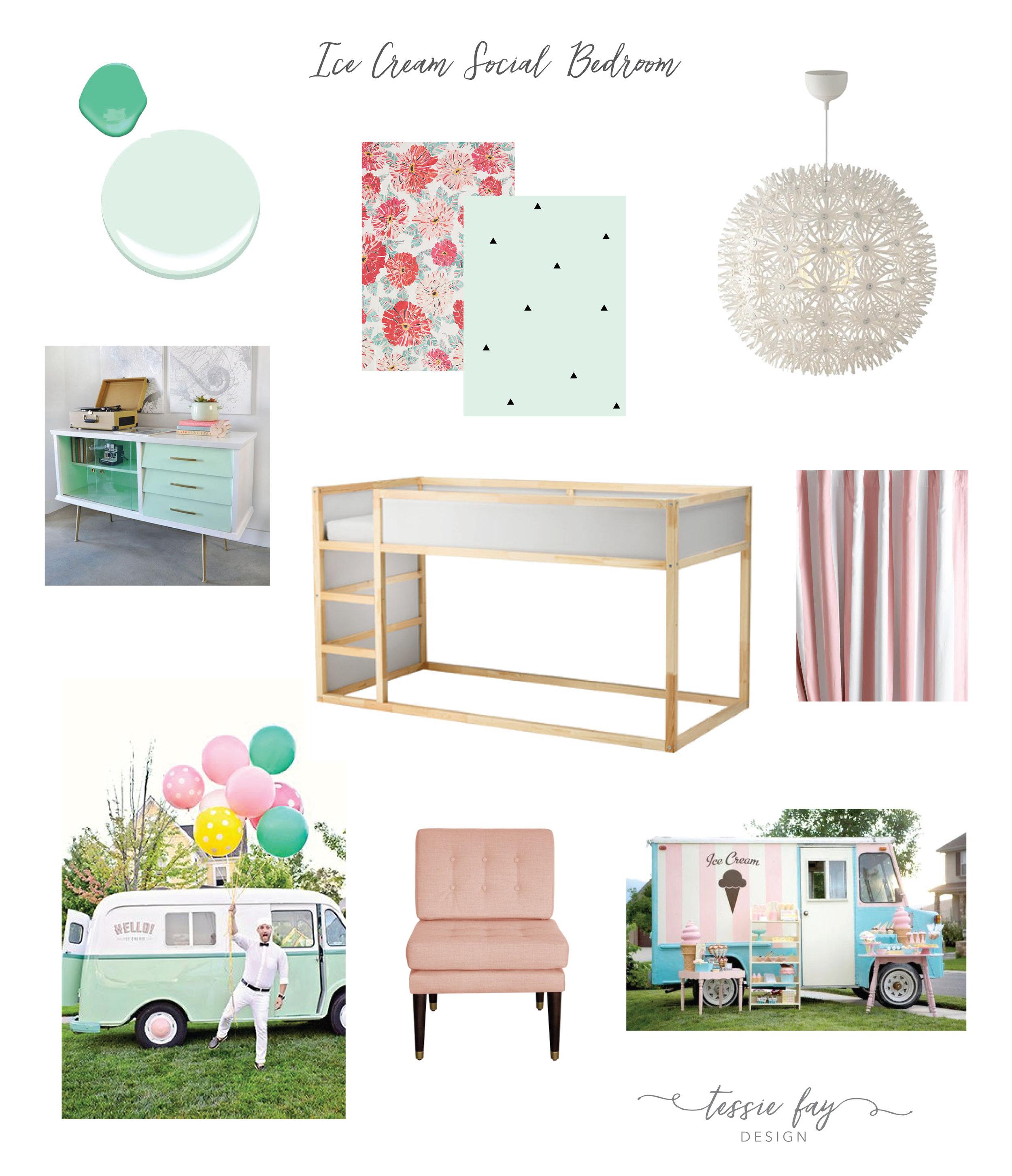 Girl's Room Mood Board. Ice Cream Social Bedroom.