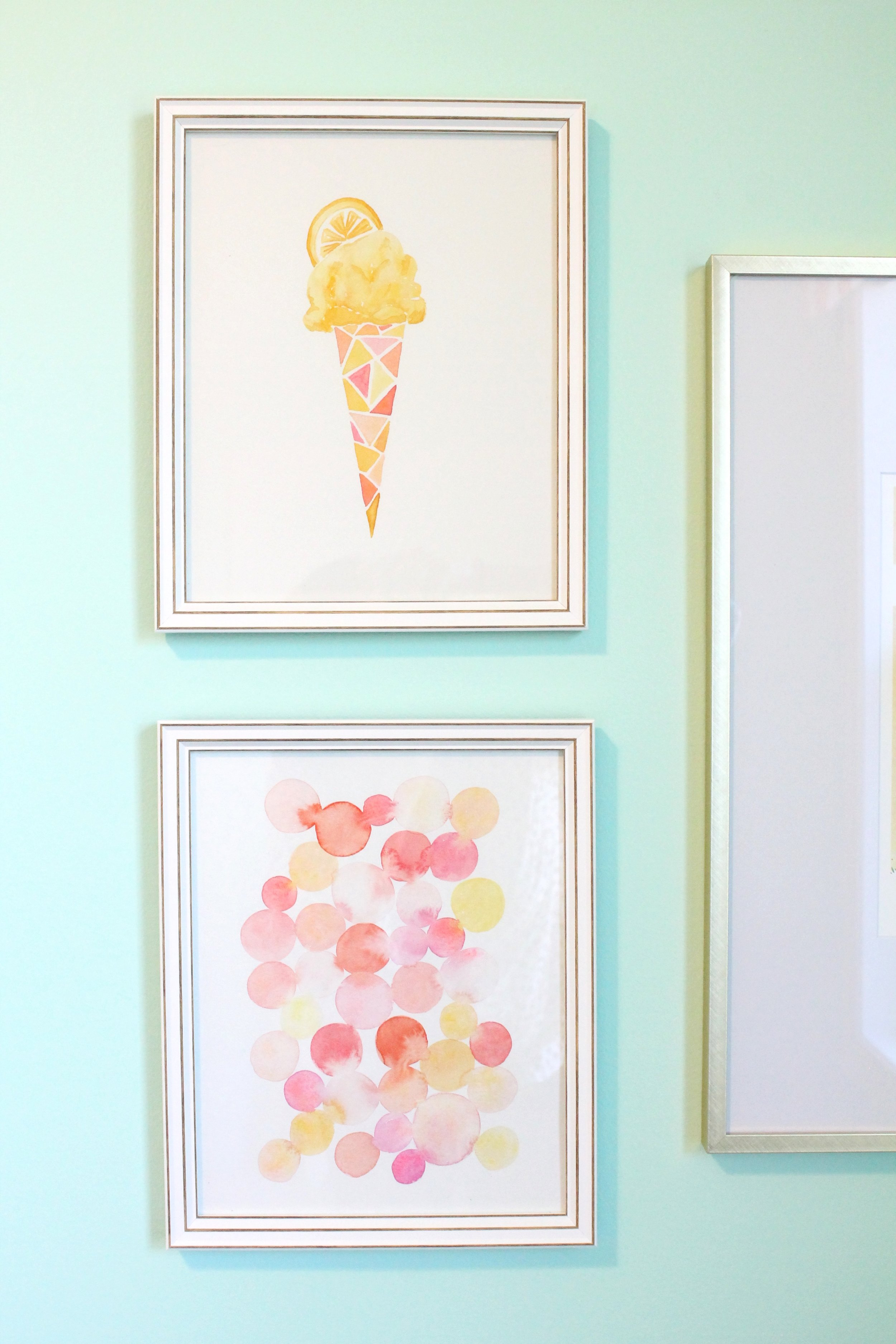 Water color lemon ice cream painting by Tessie Fay