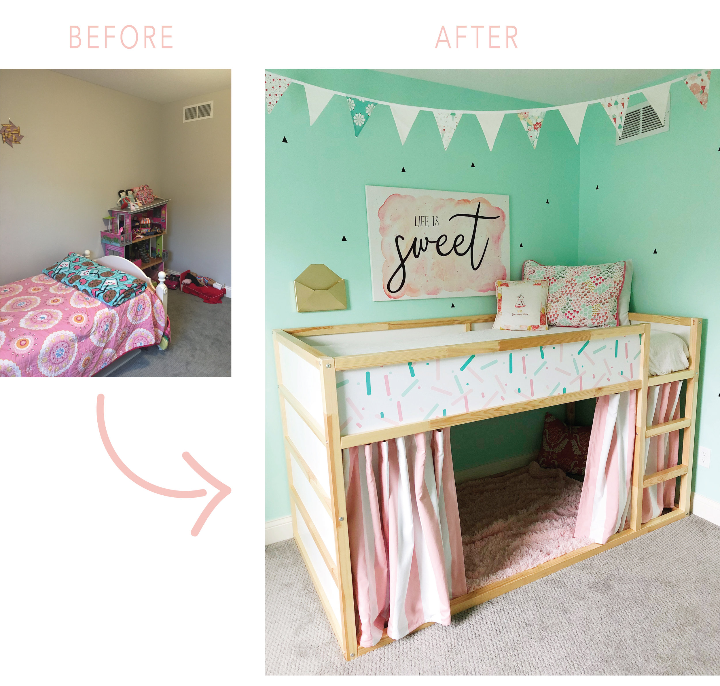 Ice Cream Themed bedroom before and after. Girls bedroom Reveal.