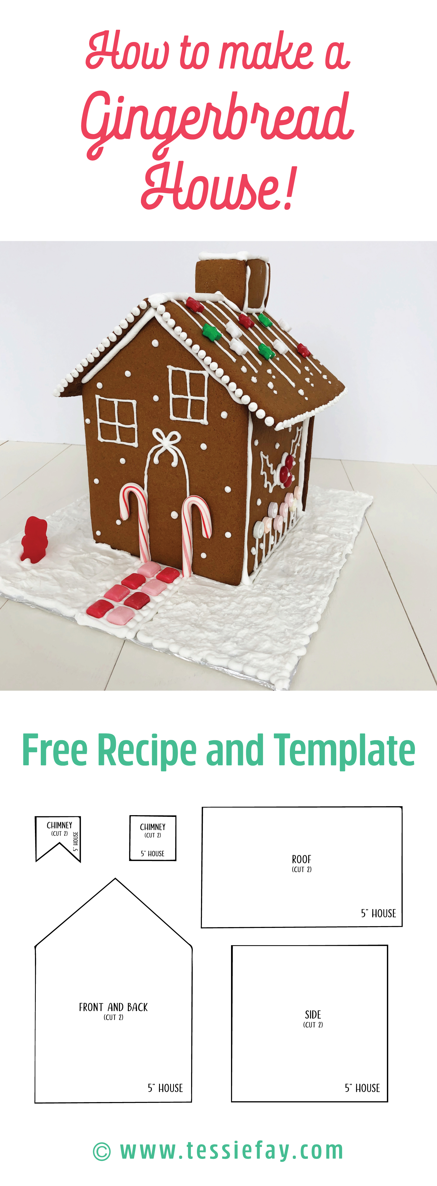 How to make a gingerbread house from scratch. Free template and recipe to create your very own gingerbread house.