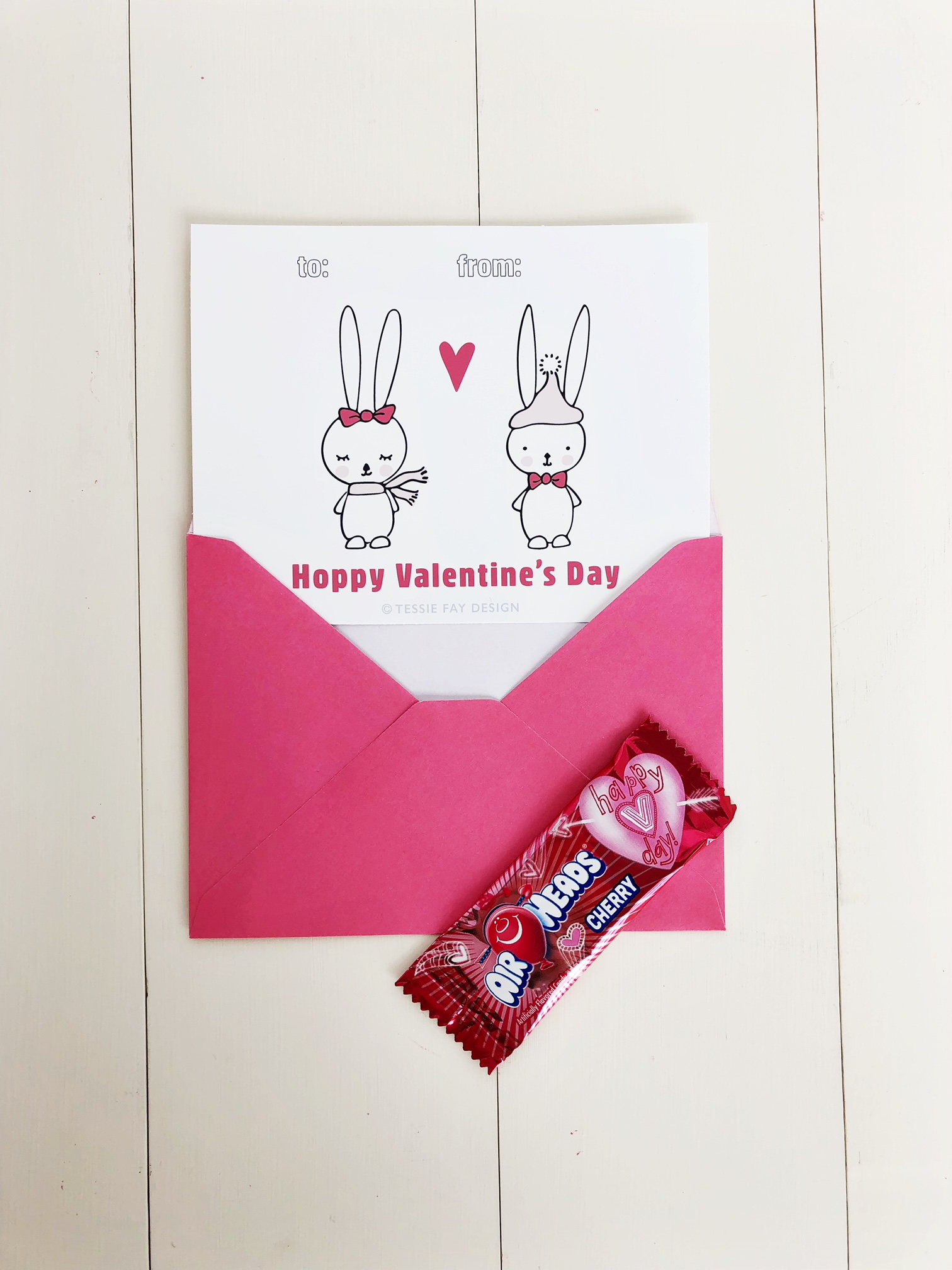Free Printable Valentine Animal Cards. Bunnies Hoppy Valentine's Day!