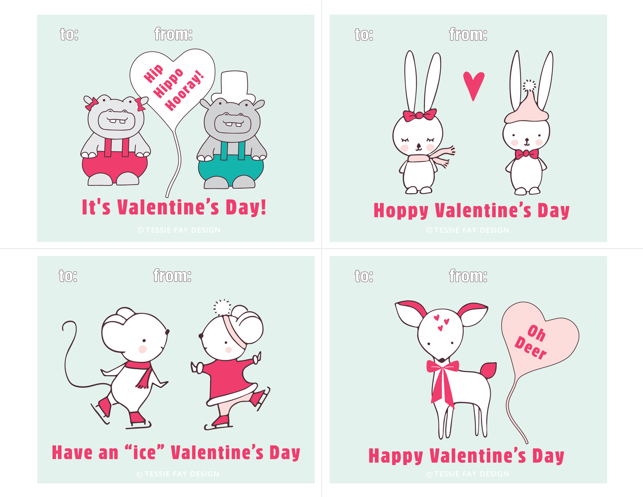 Free Printable Valentines. Hippo, mouse, bunny and deer. Animal Valentines.