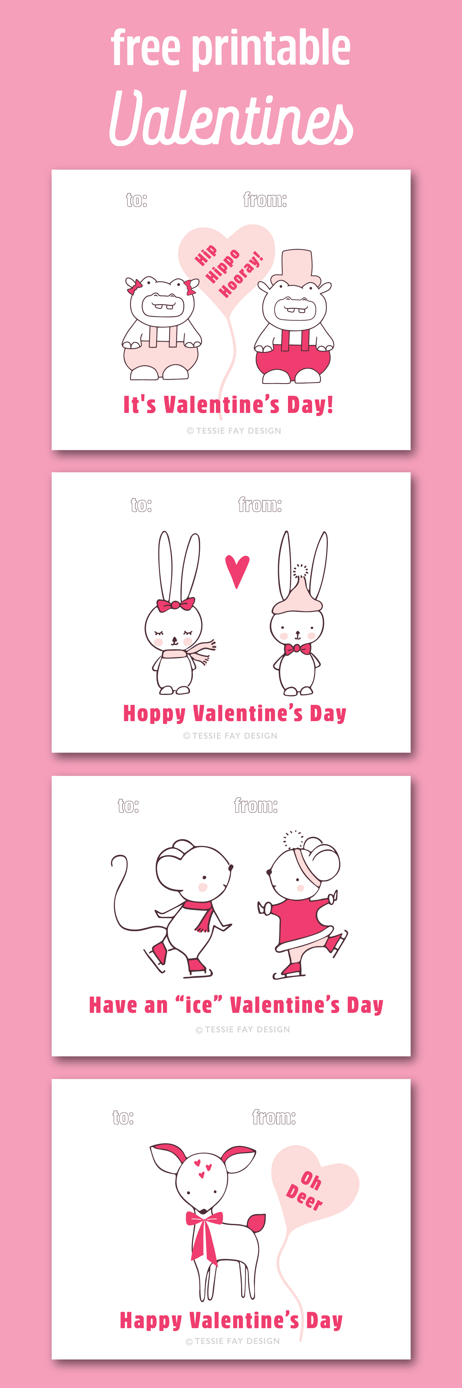 Free Printable Valentines! Animal valentines. Hippo, mice, bunny and dear.