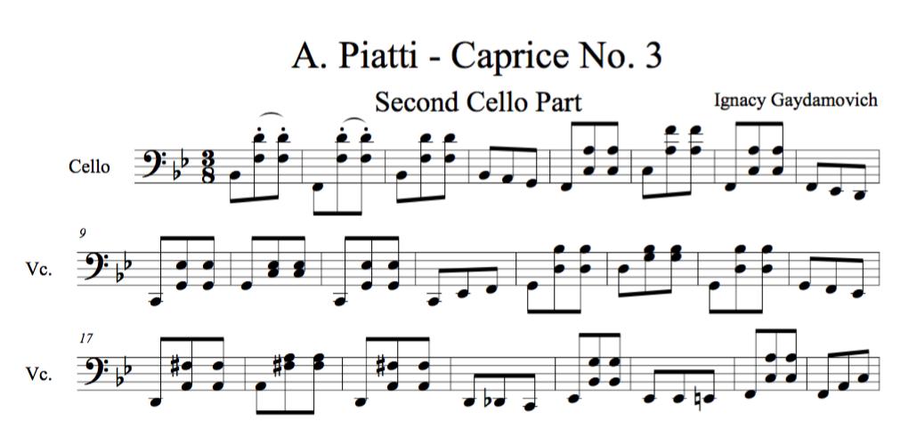 Piatti Caprice No.3 - 2nd Cello Part - $1.99