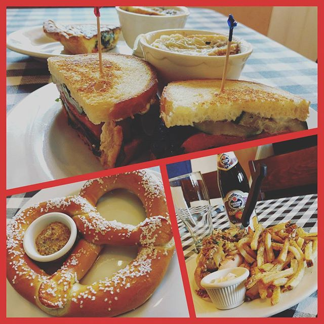 What a looovely day in the neighborhood! Here we have our AWESOME Végetal Sandwich with French onion soup on the side, Spinach Sun-dried Tomato and goat cheese quiche, our huge #pretzel with whole grain mustard, and our Saucisse Sandwich, a beer Braised bratwursts with #sauteedonions , grain mustard and a side of #pommefrites ...#cockandbowl