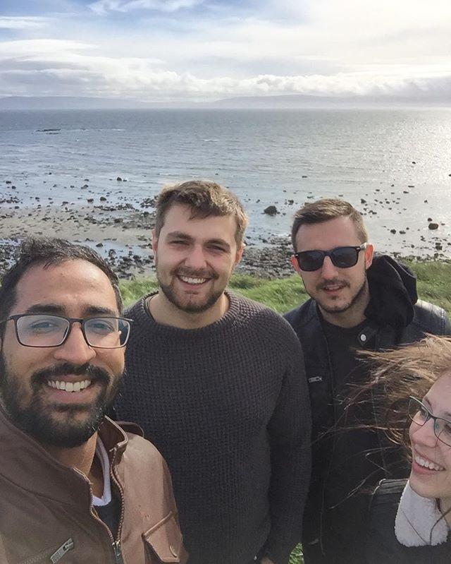 #sundayfunday with an Indian, a Croatian, an Irish, and an American. #happy #friends #passionpassport #hostellife #bunk #galway #ireland #europe #galway2020 #spring #ocean #beach #hostel #sun