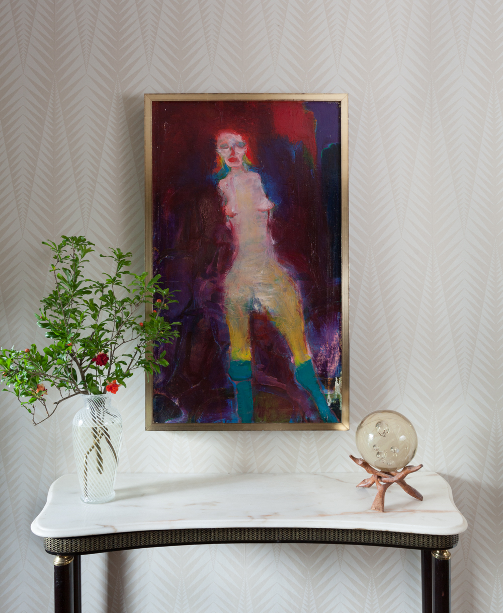 Martin Sumers painting and Neisha Crosland zebra wallpaper. Tone on tone