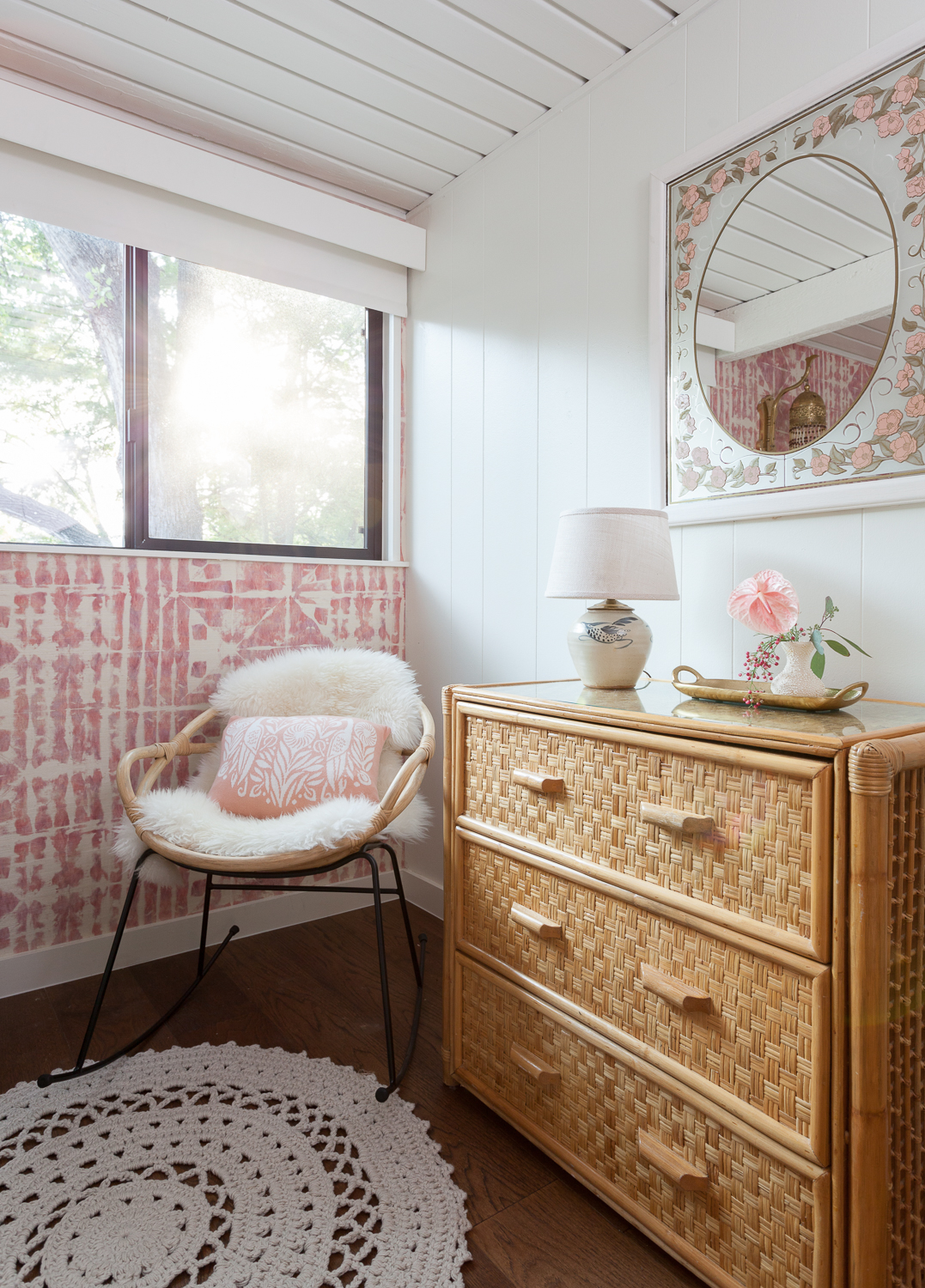 erin williamson design, nersery design, eskayel wallpaper, urban outfitters, granny chic, baby boho, lakehouse, 50s design, grasscloth wallpaper, pink wallpaper, shade store