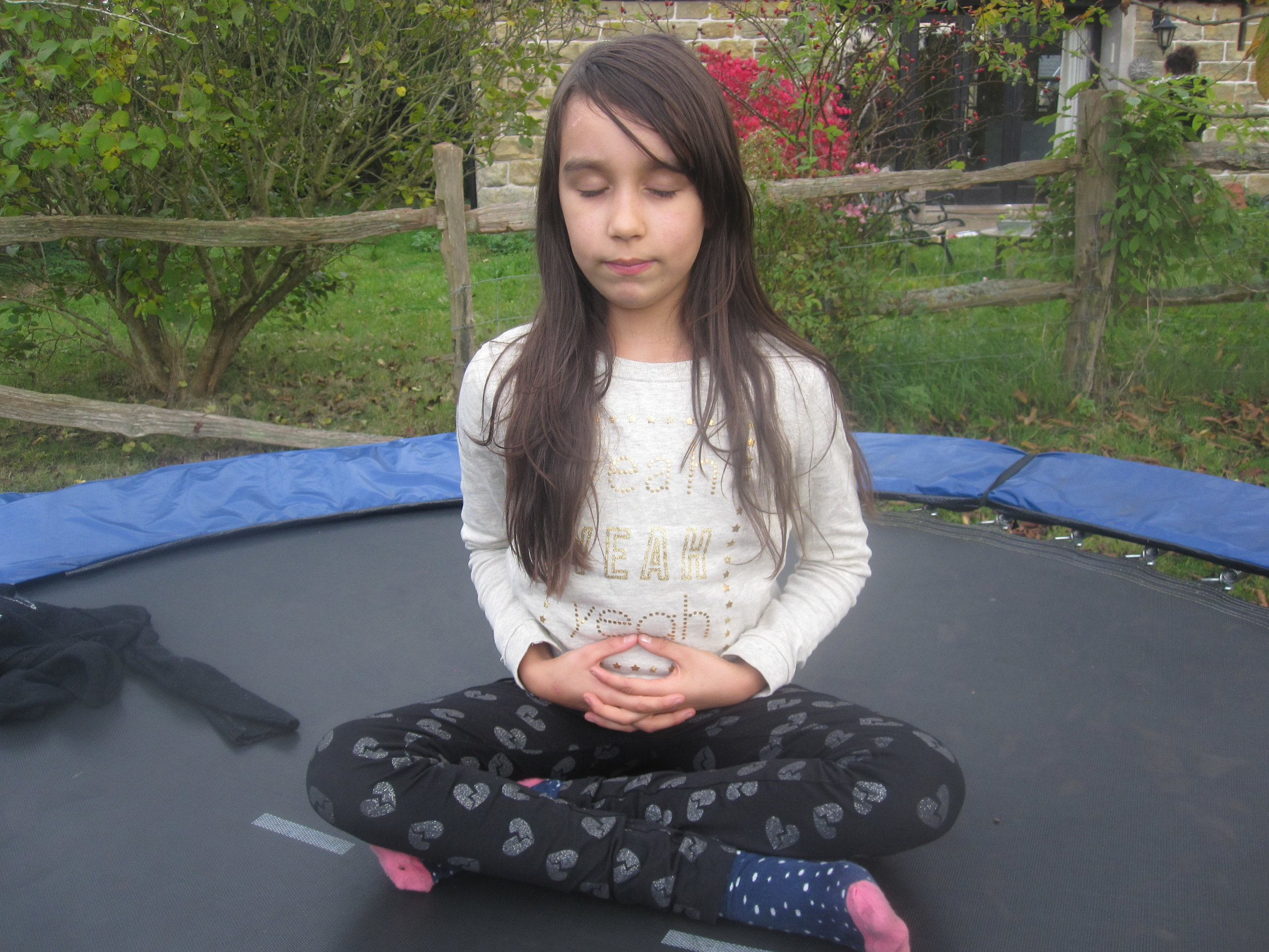 After trampolining, some Peace Button time