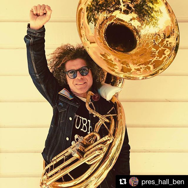 #motivationmonday! Cheers to @pres_hall_ben on the return of his beloved sousaphone! Word of mouth, community and a little New Orleans magic go a long way! #keepyourheadup #begoodtopeople