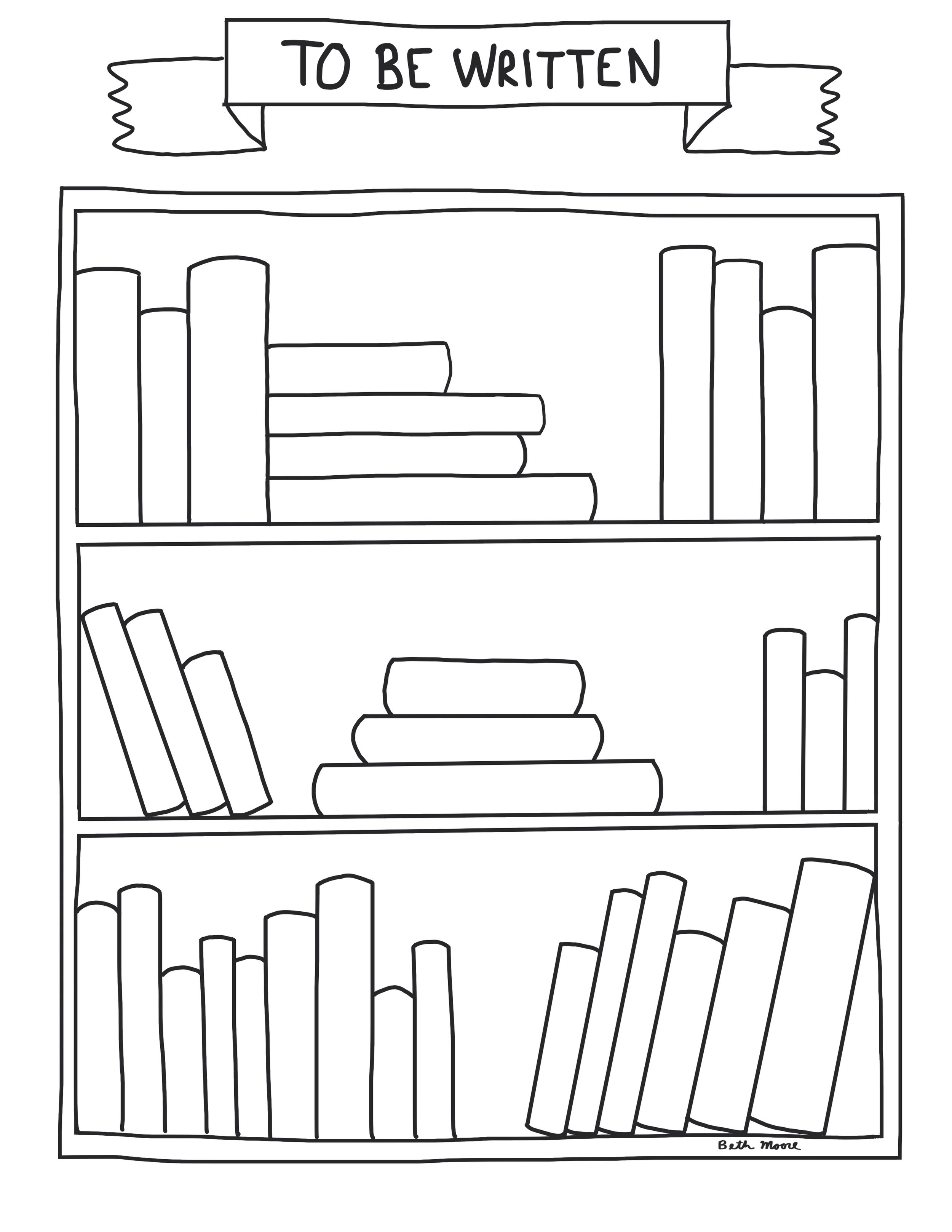 To Be Written Bookshelf - Reading great books often leads to great ideas for writing. Here's a bookshelf to help readers envision the books they might write.