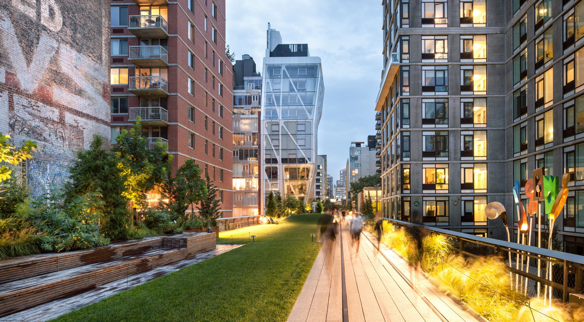 New York City's High Line is an elevated section of a disused New York City Railroad tracks on the Lower West Side of Manhattan. The tracks have since been converted into a public park. The project spurred real estate development in the neighborhoods that lie along the High Line.