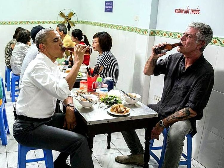 Obama and Bourdain in Vietnam