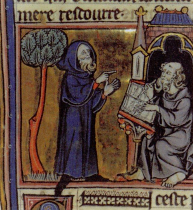 Merlin dictating prophecies to his scribe. French 13th centuryfrom  Robert de Boron's Merlin en prose  (c.1200)