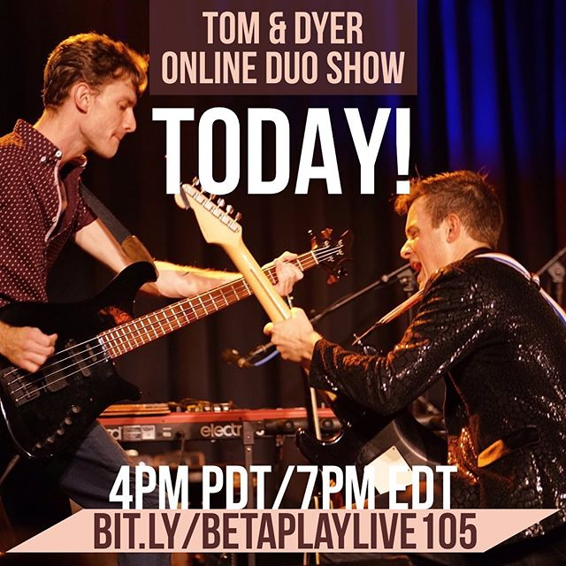 Tom & Dyer are going to jam it out today at 4PM PDT/7PM EDT on @stageit! Ask for your favorite song and ask us anything! Link for tix in bio! #BetaPlay #StageIt #OnlineShow