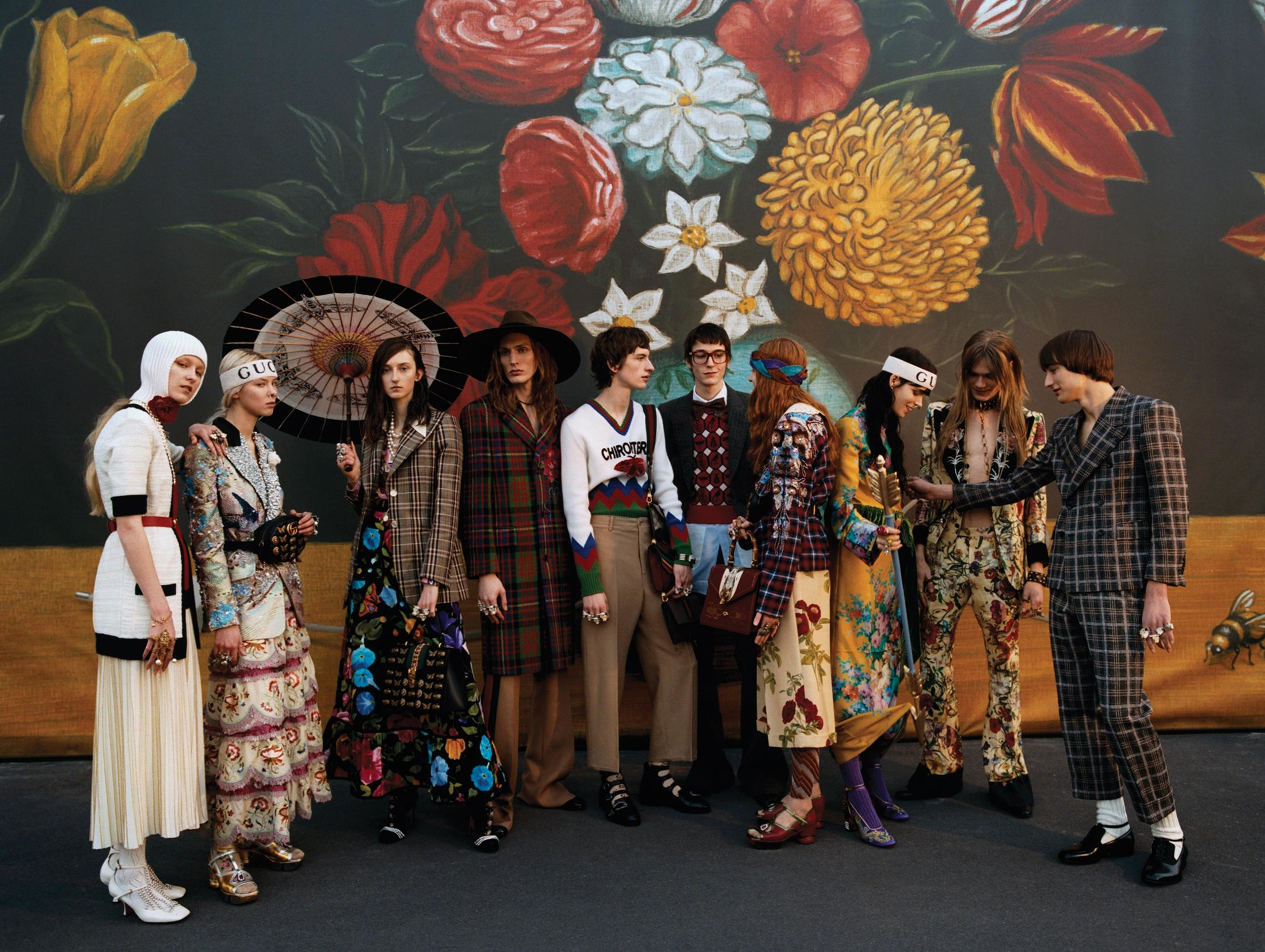 FLOWER POWER | Models wearing pieces from the fall 2017 Gucci collection, at the brand's headquarters in Milan. PHOTO: QUENTIN DE BRIEY FOR WSJ. MAGAZINE