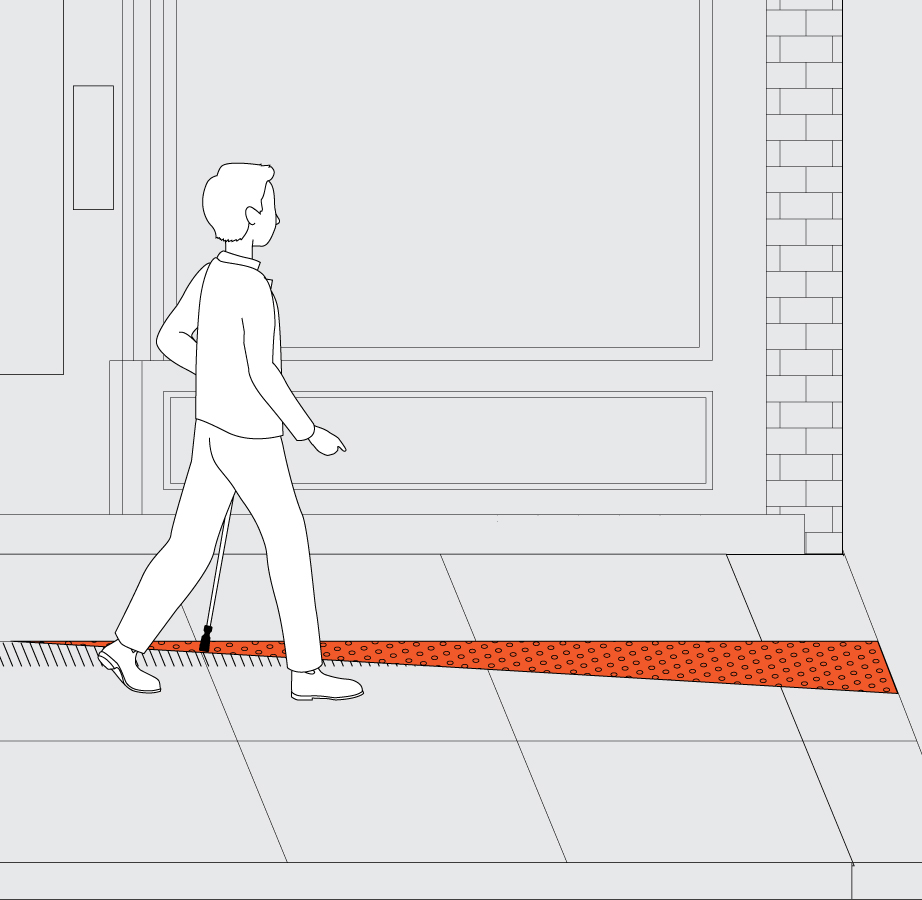 A pedestrian is approaching a textured surface applied onto the tactile path, which is notification of an upcoming construction zone. The textured surface is triangular in shape. The width of the triangular textured surface increases as it gets closer to the construction barrier.