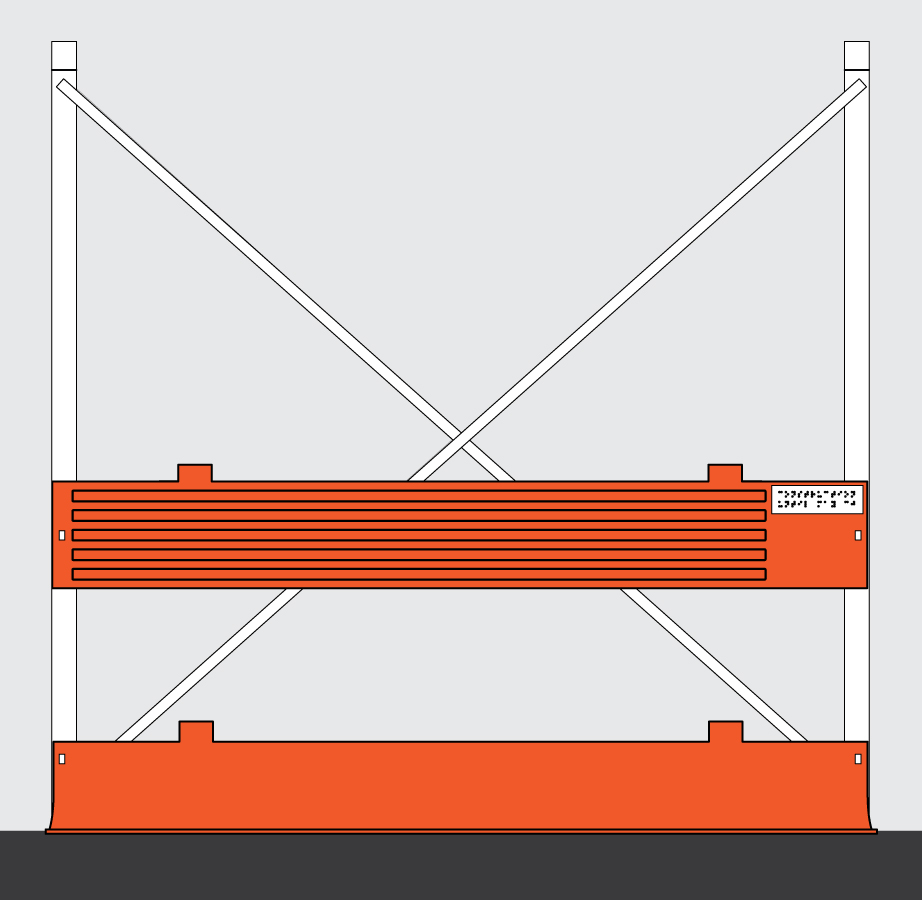 The guiding edges that are attached to the barriers are shown attached to construction scaffolding.