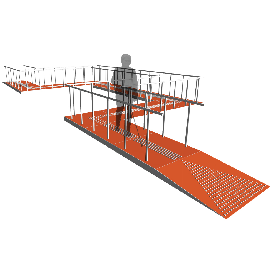 A pedestrian iswalking on a elevated construction platform which has tactile markings on the walking surface to indicate its path. The platform also has rails on both sides and a ramp at both openings.