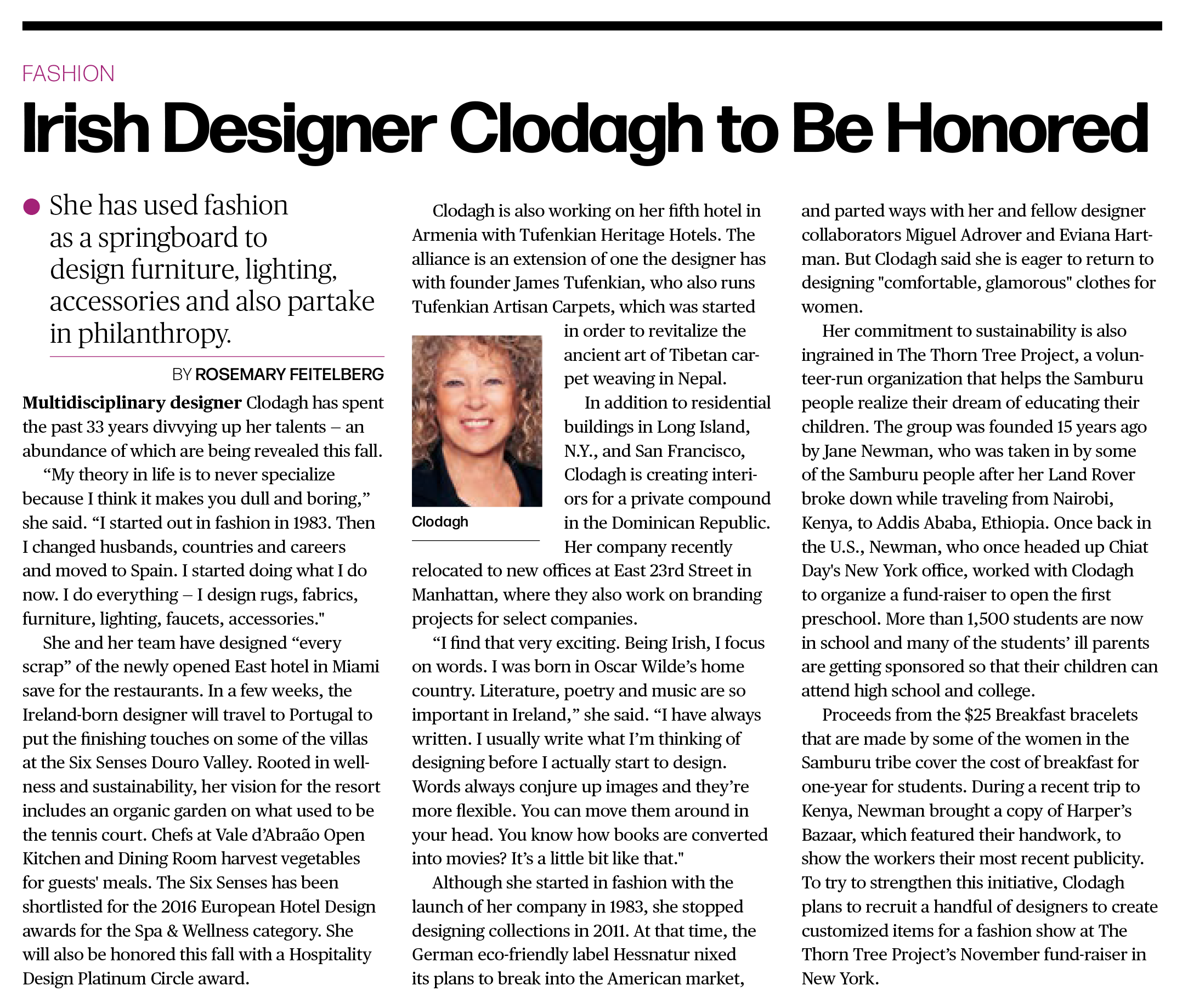 Clodagh to be Honored - via Women's Wear Daily, Aug 30th, 2016
