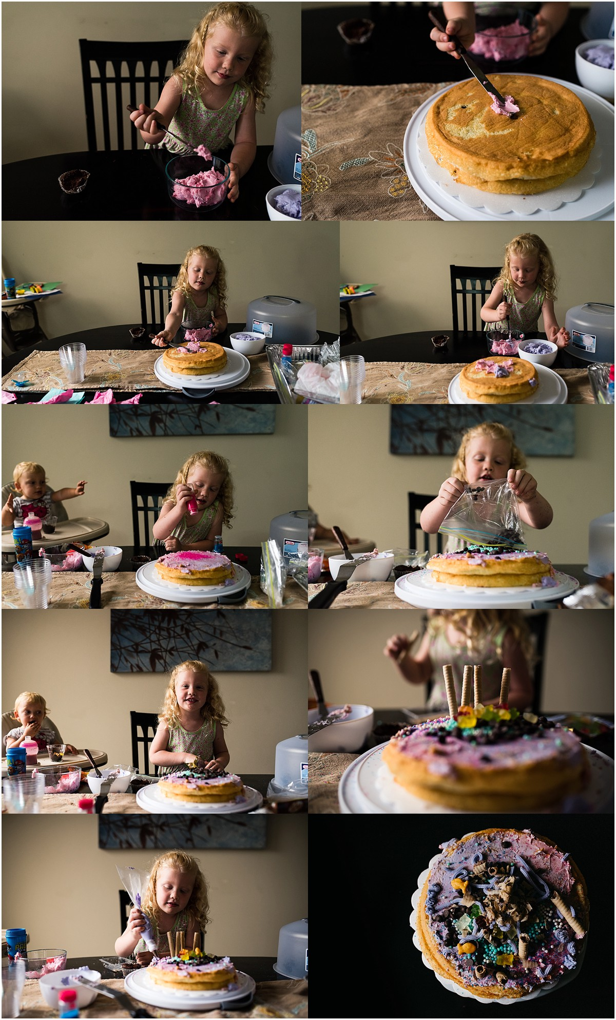 Cake decorating! Our lovely neighbor brought this project over for Madison's birthday. Maddie had SO MUCH FUN decorating this beauty, goldfish and all.