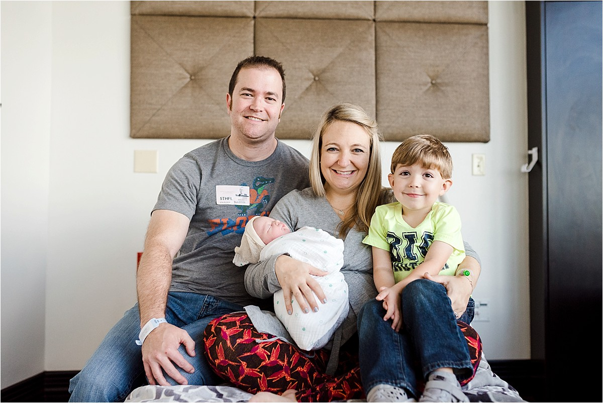 First family photo in hospital setting at Winnie Palmer hospital in Central Florida