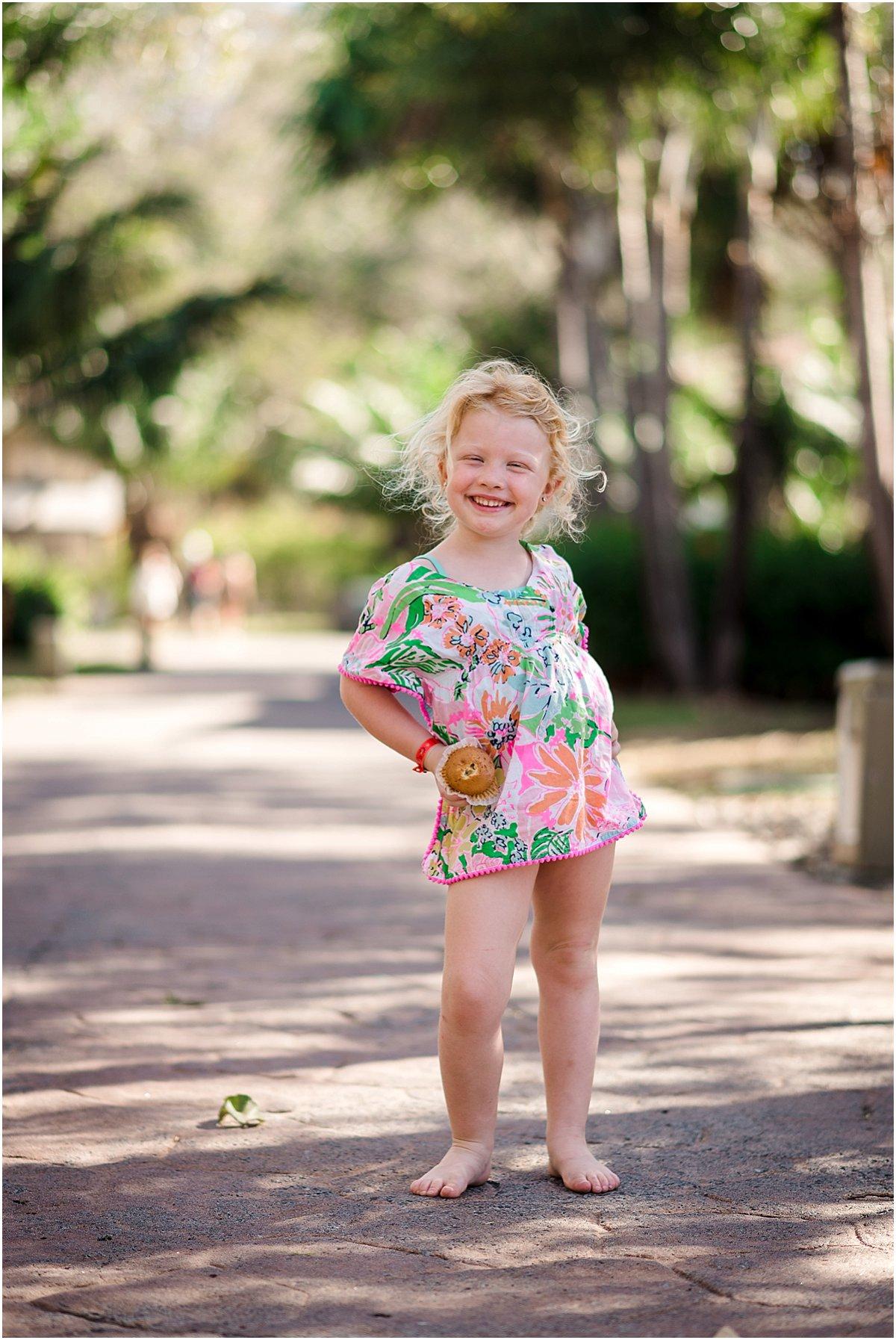 little girl posing at the Westin resort in Guanacaste