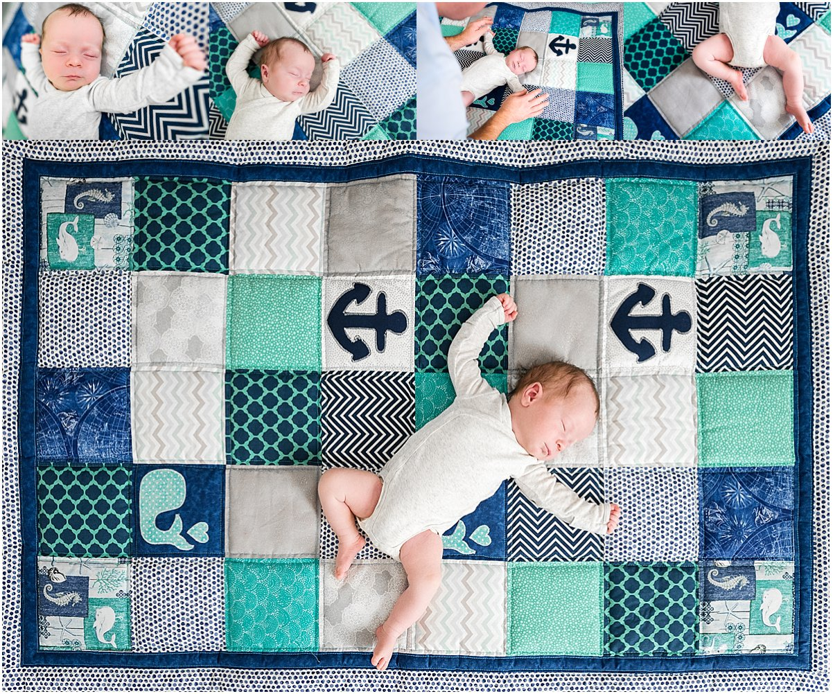 Sleeping newborn baby boy on a quilt | Orlando newborn photographer