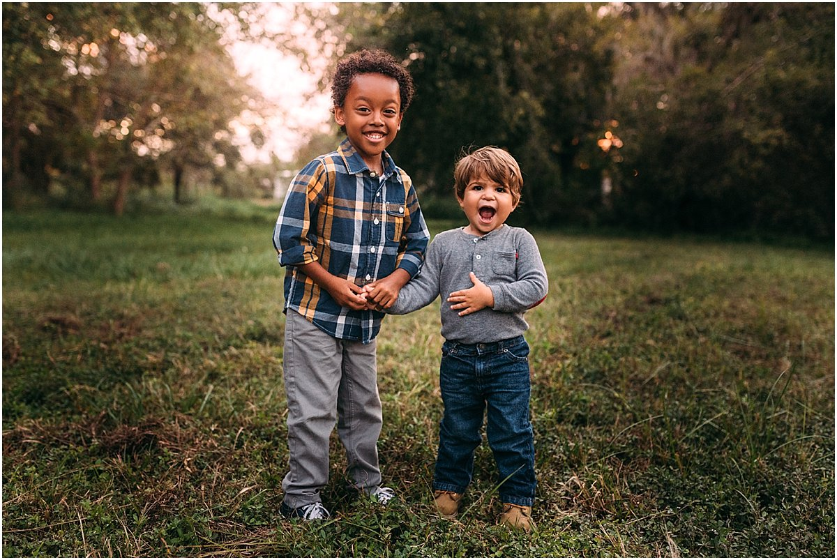Brothers giggling | Winter Park Family Photographer